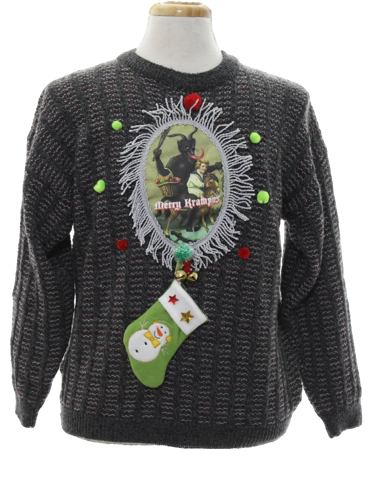 4461201acd Mens Krampus Ugly Christmas Sweater  -Cortina italia- Mens grey and red  wool acrylic blend pullover longsleeve Krampus Ugly Christmas Sweater with  ribbed ...