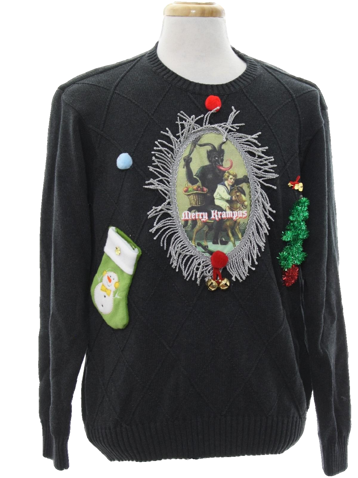 cffb927fc7 Mens Krampus Ugly Christmas Sweater  -IZOD- Mens grey cotton ...