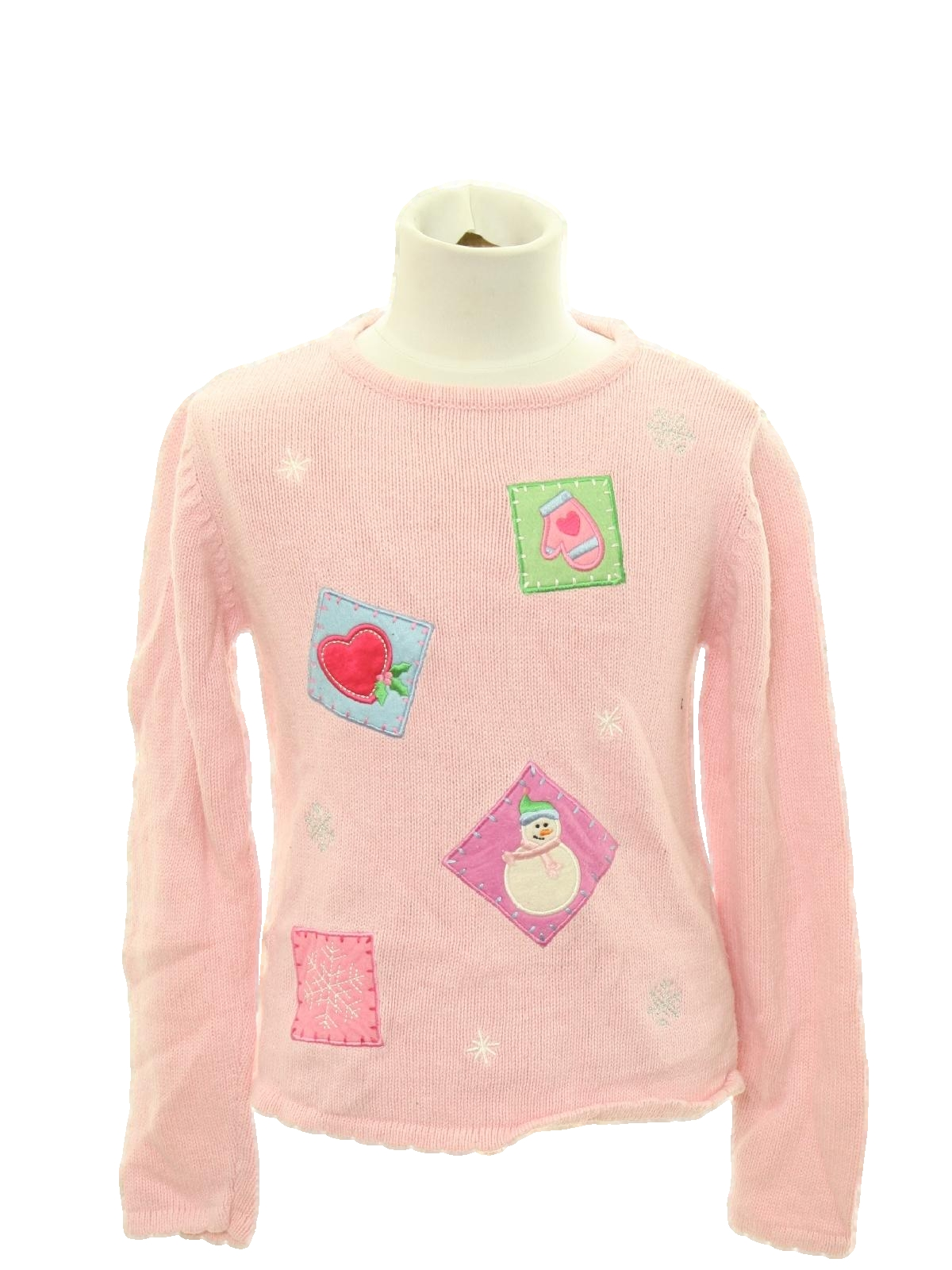 womenschilds ugly christmas sweater missing label girls childs light pink background cotton ramie blend pullover longsleeve ugly christmas sweater - Pink Ugly Christmas Sweater