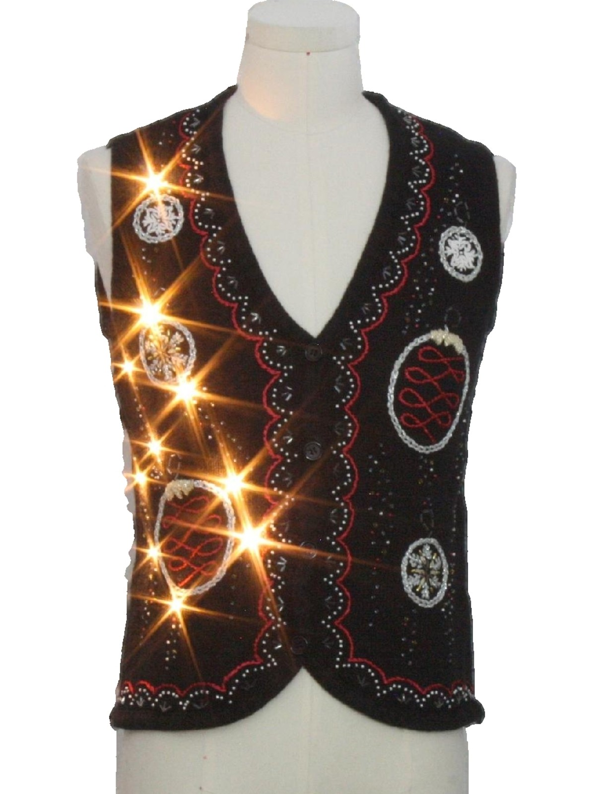 womens white lightup ugly christmas sweater vest reference point womens black background cotton ramie blend button front ugly christmas white flashing