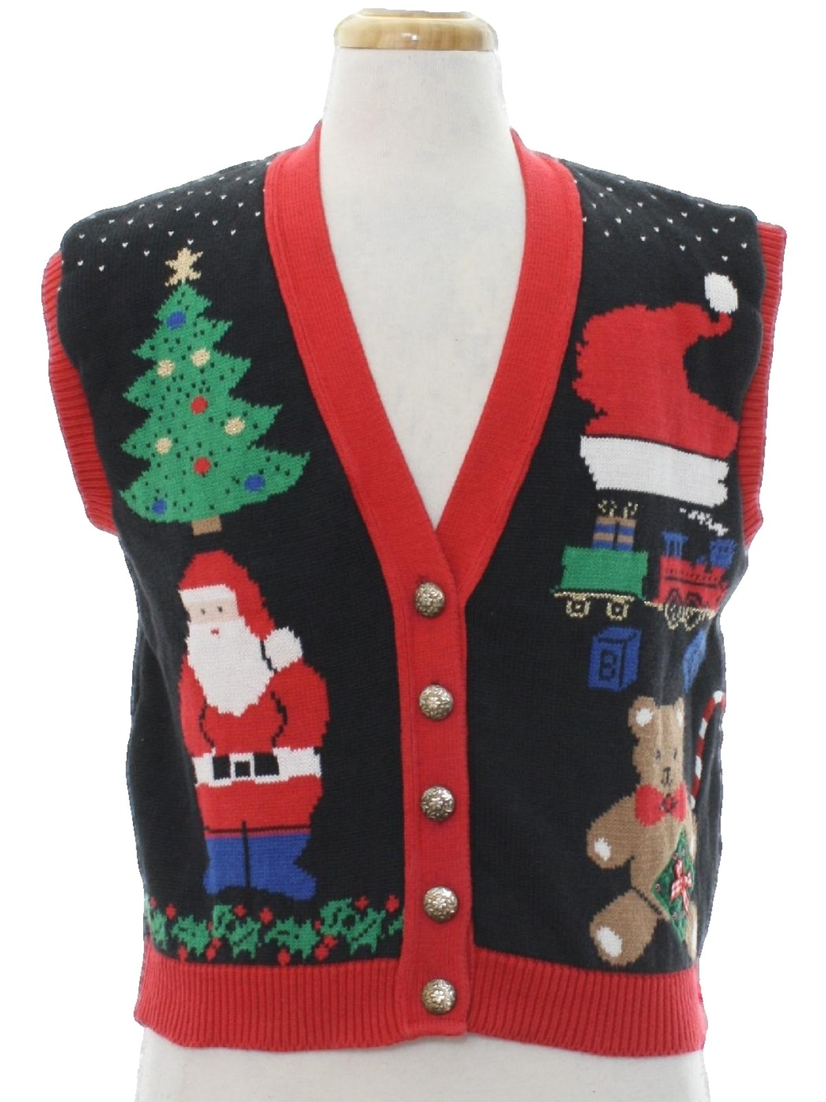 1980\'s Country Workshop Womens Vintage Ugly Christmas Sweater Vest