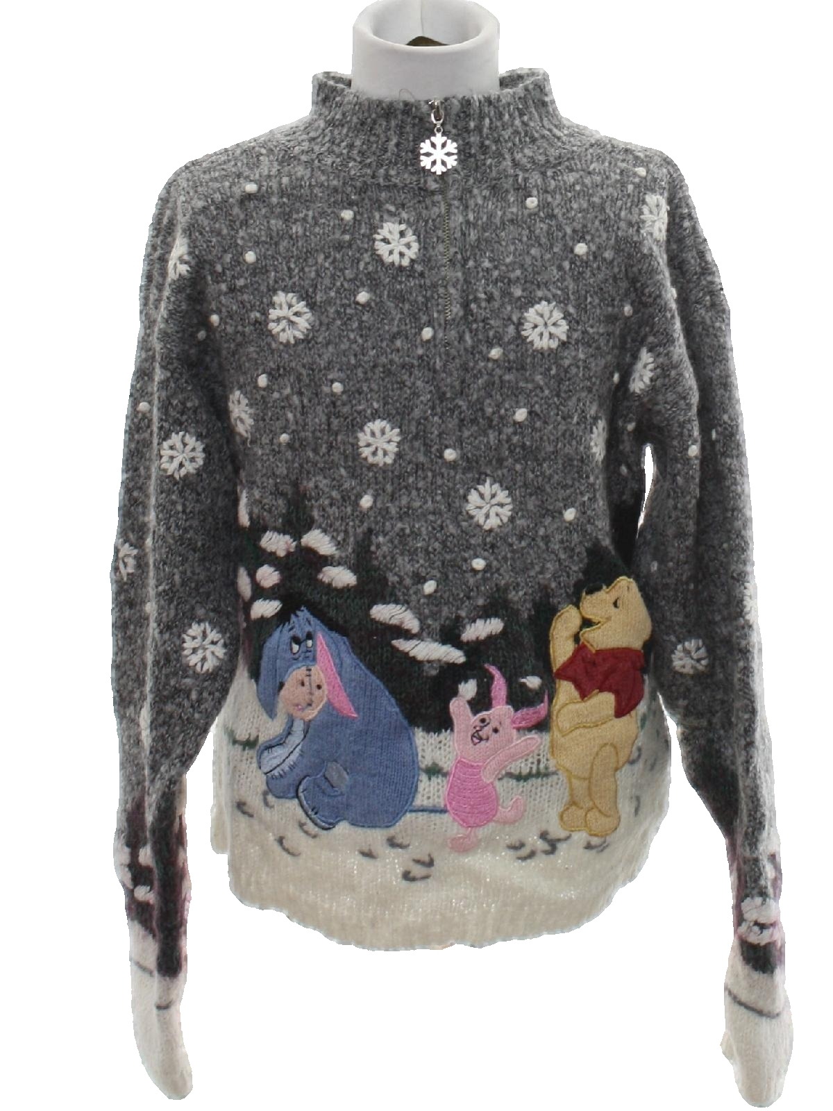 Womens Winnie The Pooh Ugly Christmas Sweater Disney Womens White
