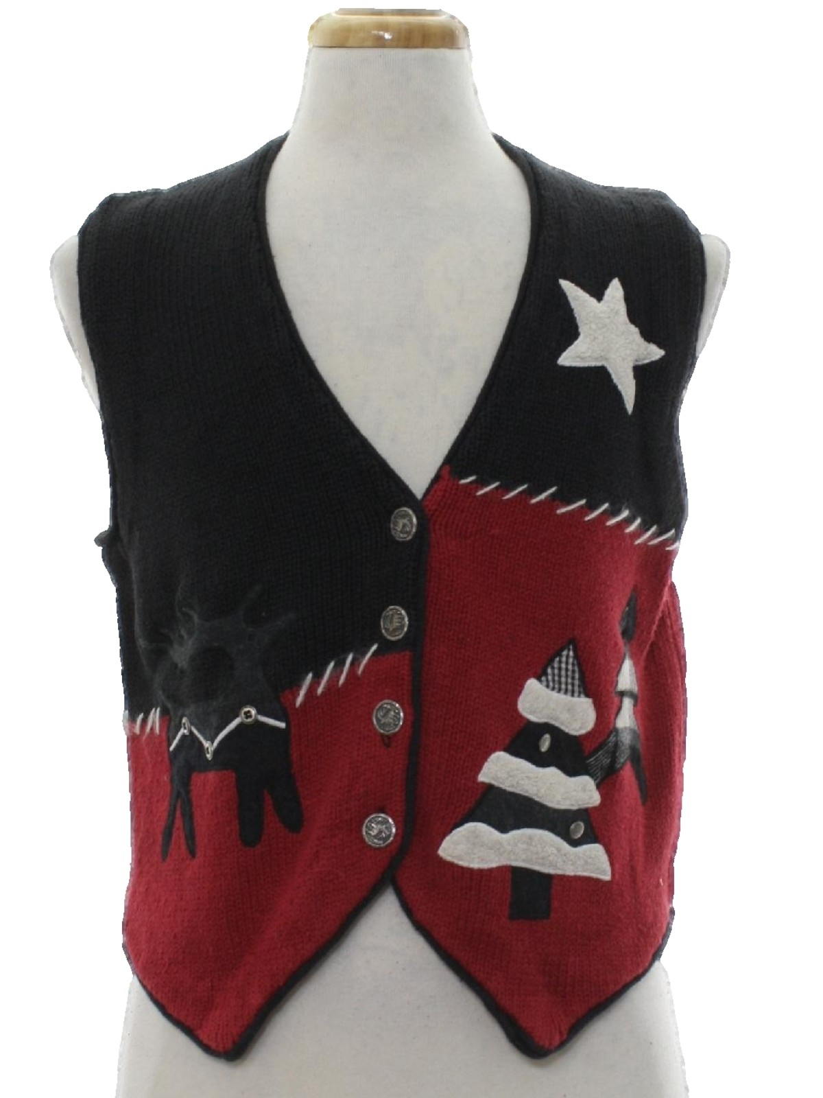 womens country kitsch ugly christmas sweater vest sharon young womens black and red background cotton ramie blend button front sleeveless ugly christmas