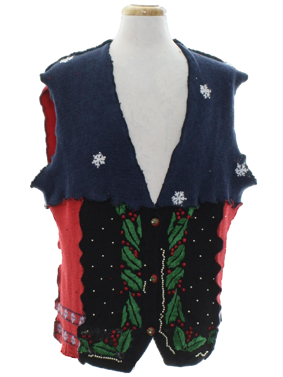 hand made patchwork ugly christmas sweater vest hand made unique one of a kind unisex red black blue background cotton ramie blend button front hand - Unique Christmas Sweaters