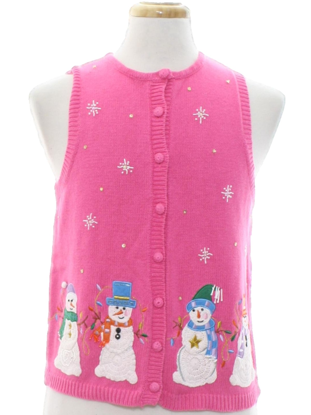 womens ugly christmas sweater vest heirloom collectibles womens pink background cotton ramie blend button front ugly christmas sweater vest with ribbed - Pink Ugly Christmas Sweater