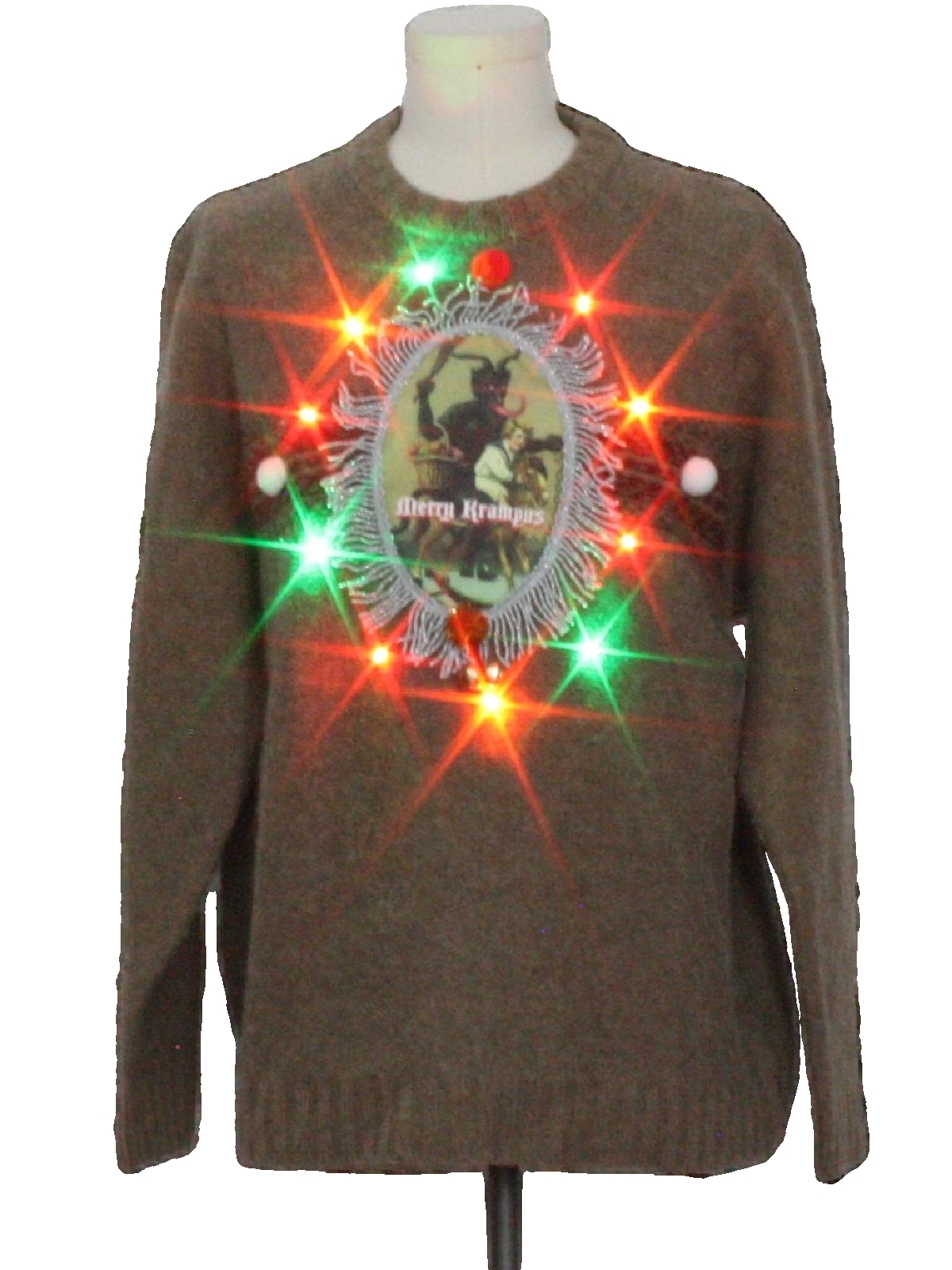 Mens Christmas Sweaters.Heather Tweed Mens Multicolor Lightup Krampus Wool Ugly Christmas Sweater