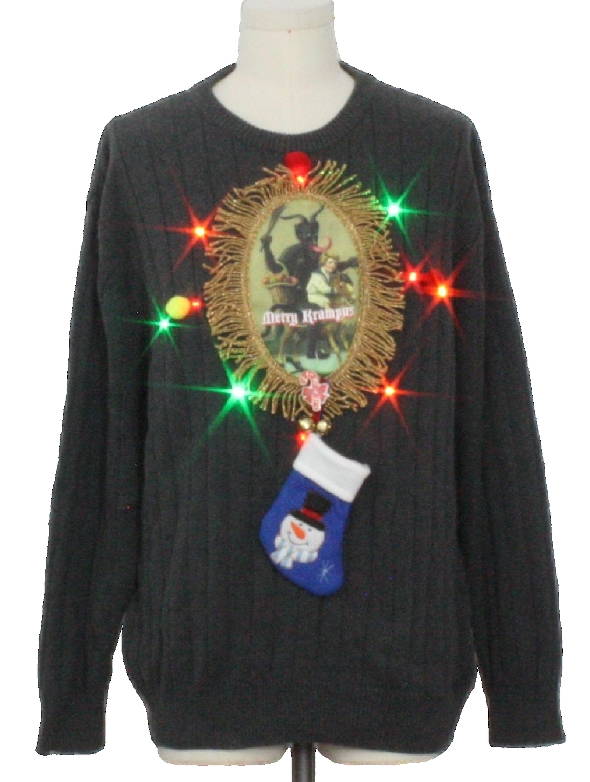 Mens Multicolor Lightup Krampus Ugly Christmas Sweater: -High Sierra ...