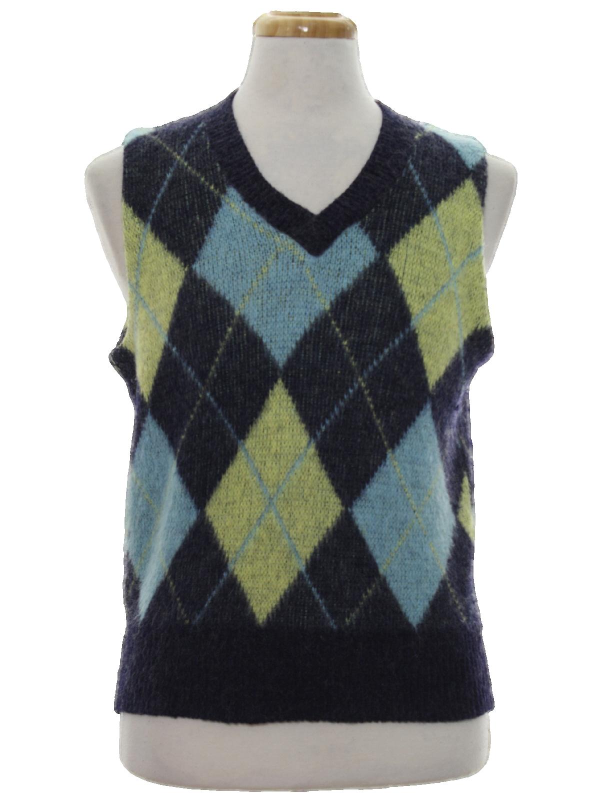 Retro 60's Sweater: 60s -Kennington- Mens navy blue, pale yellow ...