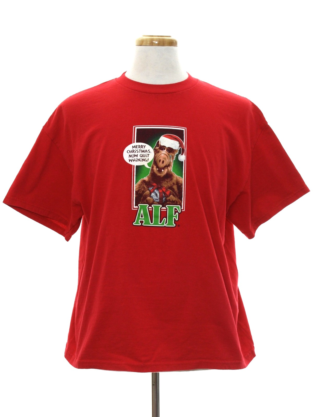 eighties vintage alf ugly christmas t shirt to wear under your sweater vest authentic 80s vintage unisex red background cotton jersey knit with