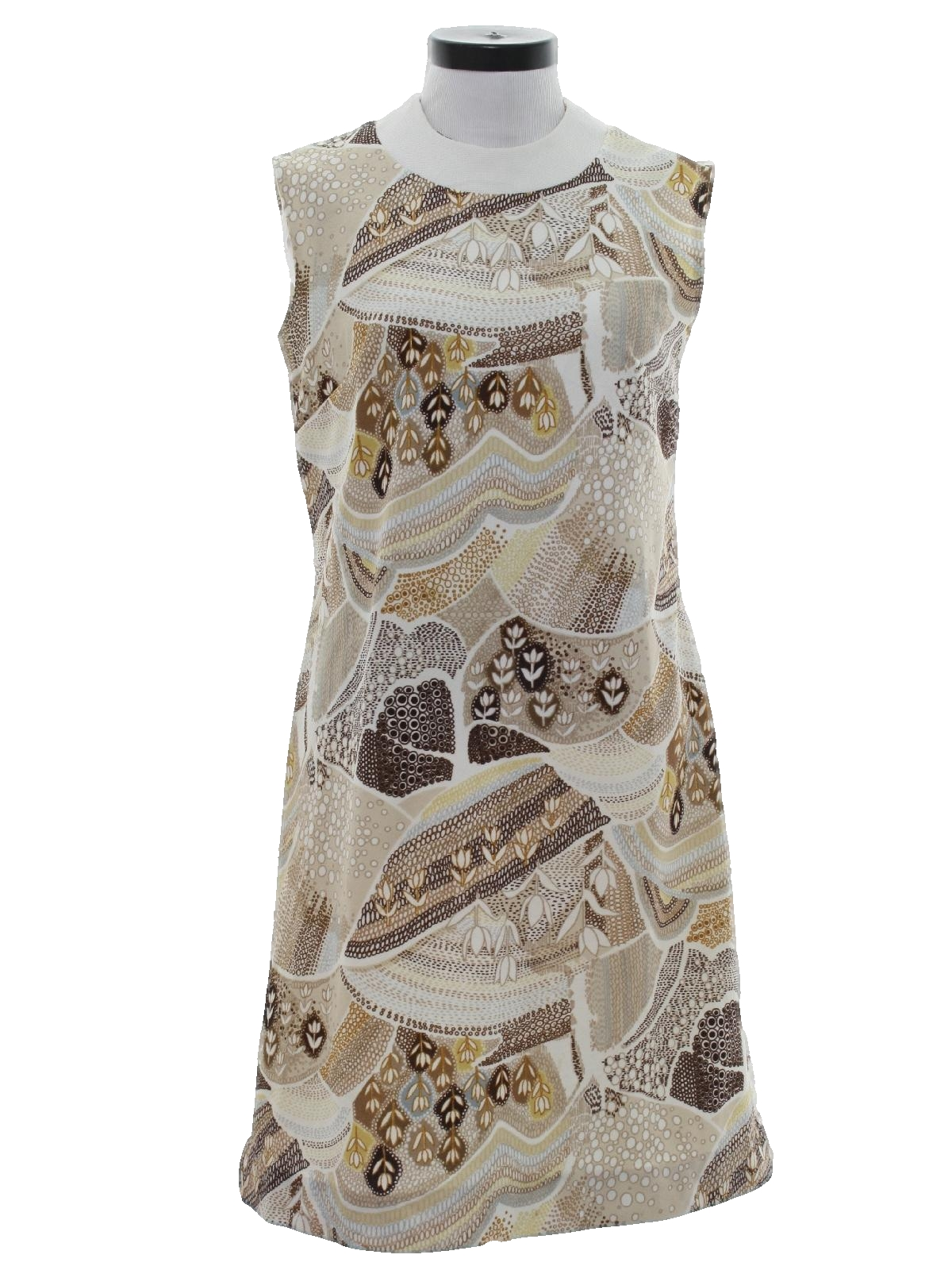 3c26d614c3ad7 Liberty Circle 1960s Vintage Dress: Late 60s or early 70s -Liberty Circle-  Womens taupe multi-color polyester knit slight a-line sleeveless dress  having a ...