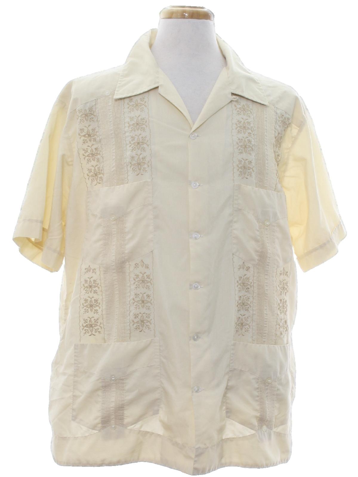 670ba5d2 Retro 80's Guayabera Shirt: 80s -Campos- Mens light maize and bronze ...