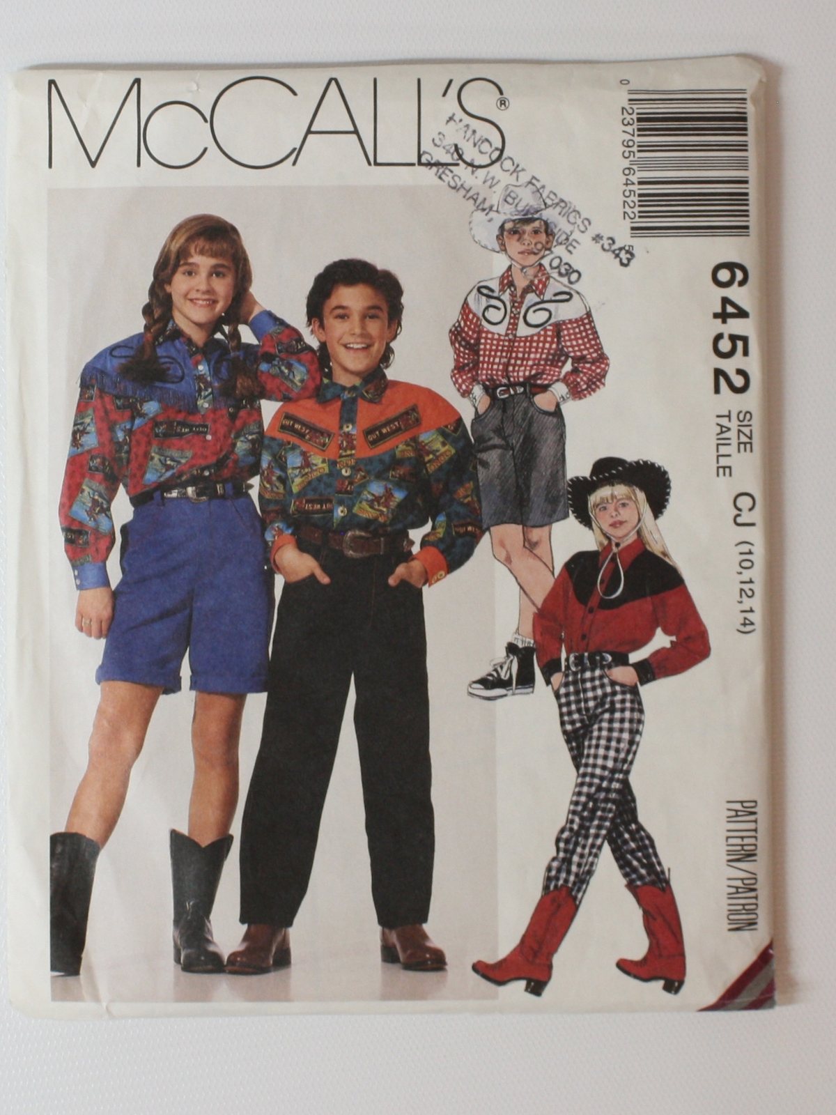 90s sewing pattern mccalls pattern no 6452 early 90s mccalls 90s sewing pattern mccalls pattern no 6452 early 90s mccalls pattern no 6452 unisex girls or boys western shirt pants and shorts shirt has front jeuxipadfo Images