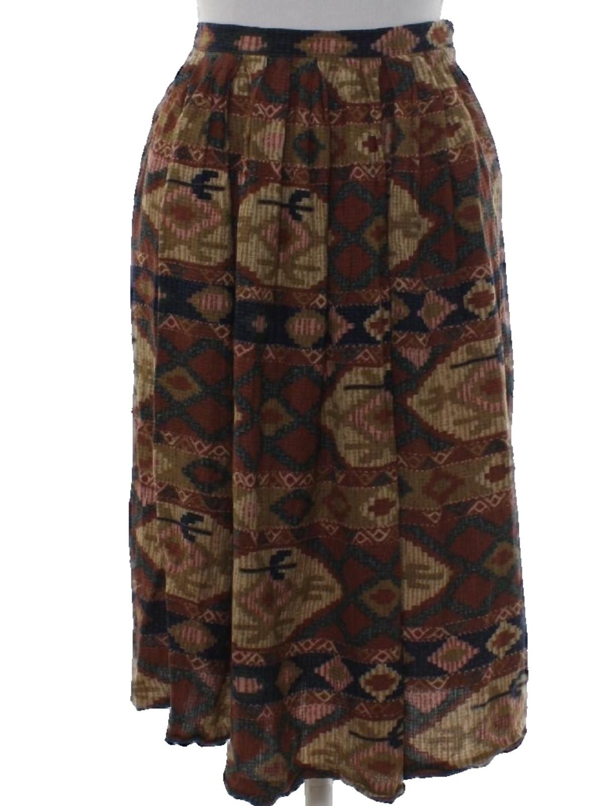 1980 39 S Retro Hippie Skirt 80s Anne Klein Womens Cream