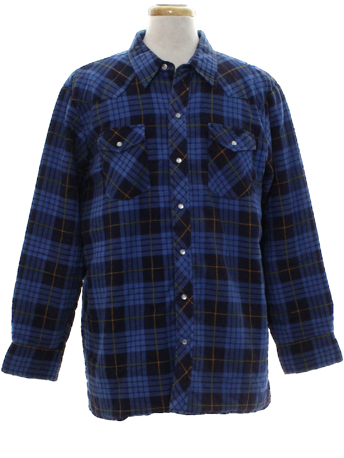 1990 39 s western shirt wrangler 90s wrangler mens blue for Polyester lined flannel shirts