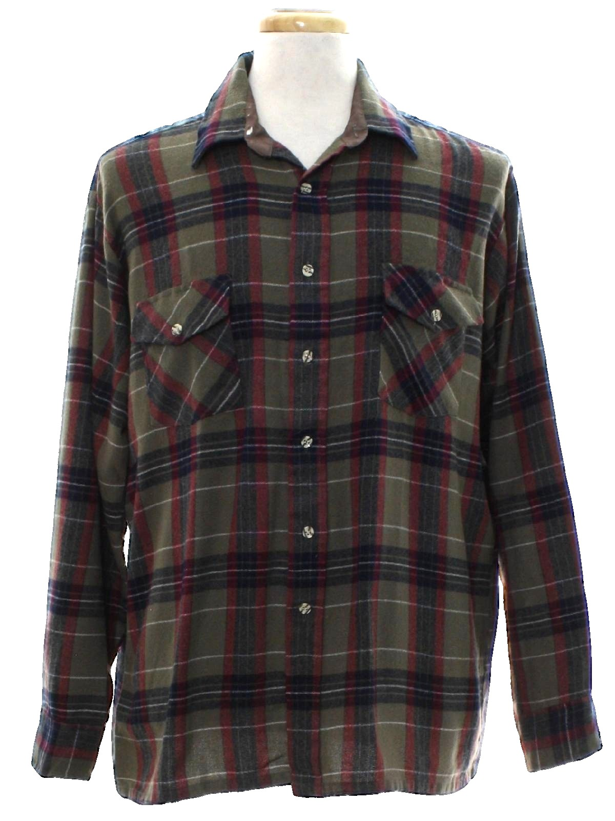 Vintage 1980 39 s shirt 80s van heusen mens army tan for Van heusen plaid shirts