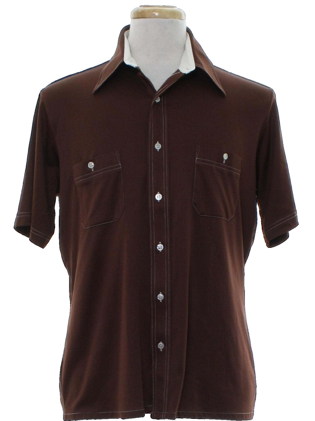 1970 39 s retro disco shirt 70s arrow mens chocolate brown for Mens chocolate brown shirt