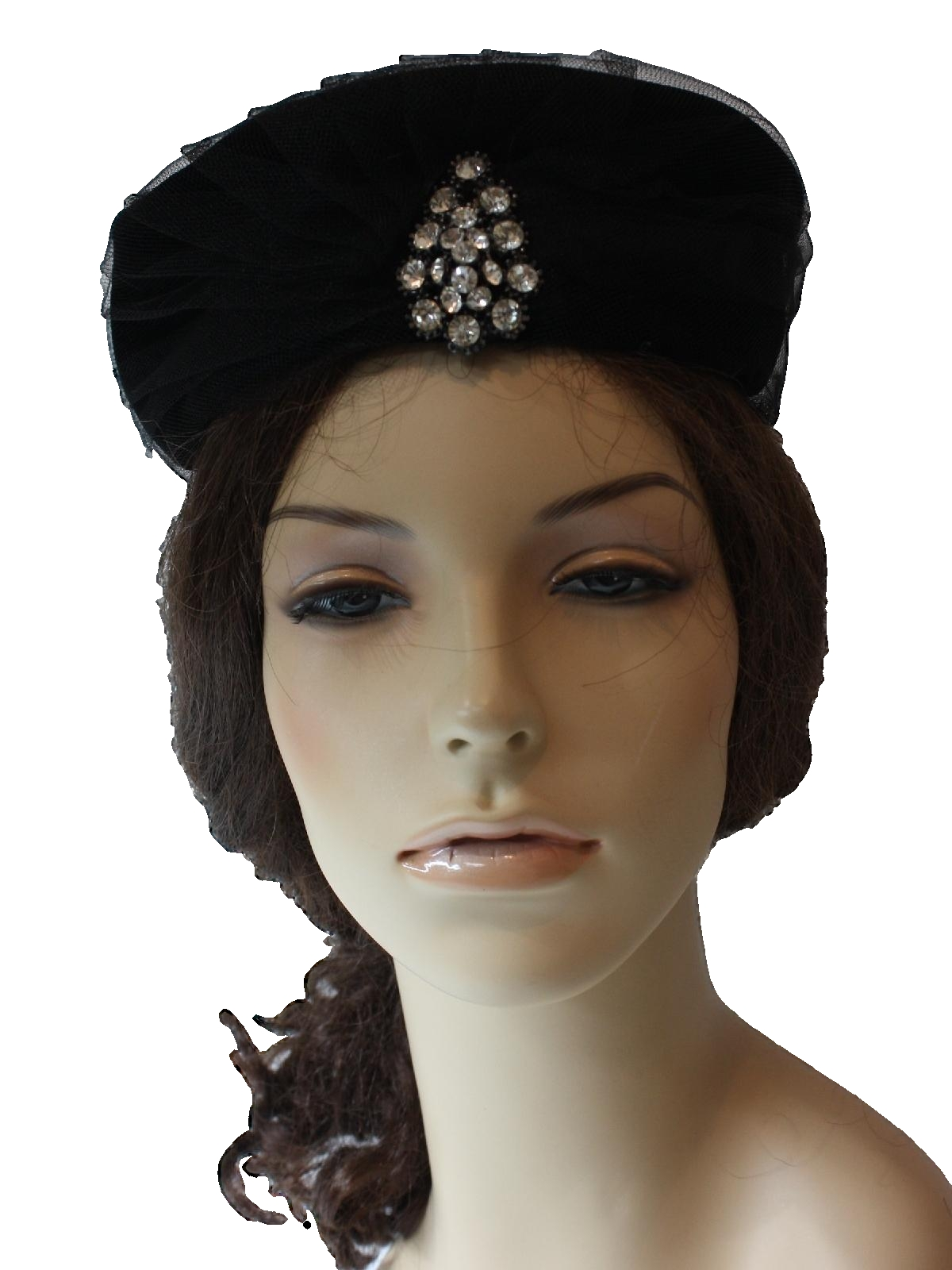 Retro 1960 s Hat (Evelyn Varon)   60s -Evelyn Varon- Womens black velveteen  hat having a fine netting over the crown and side walls. e8f95d8a109