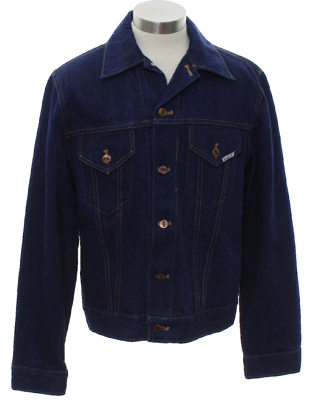 Mens jacket cotton - Vintage Jinglers Sixties Jacket Late 60s Jinglers Mens Dark Blue Cotton Denim Western Style Jacket With Waist Length Styling Tapered Sides