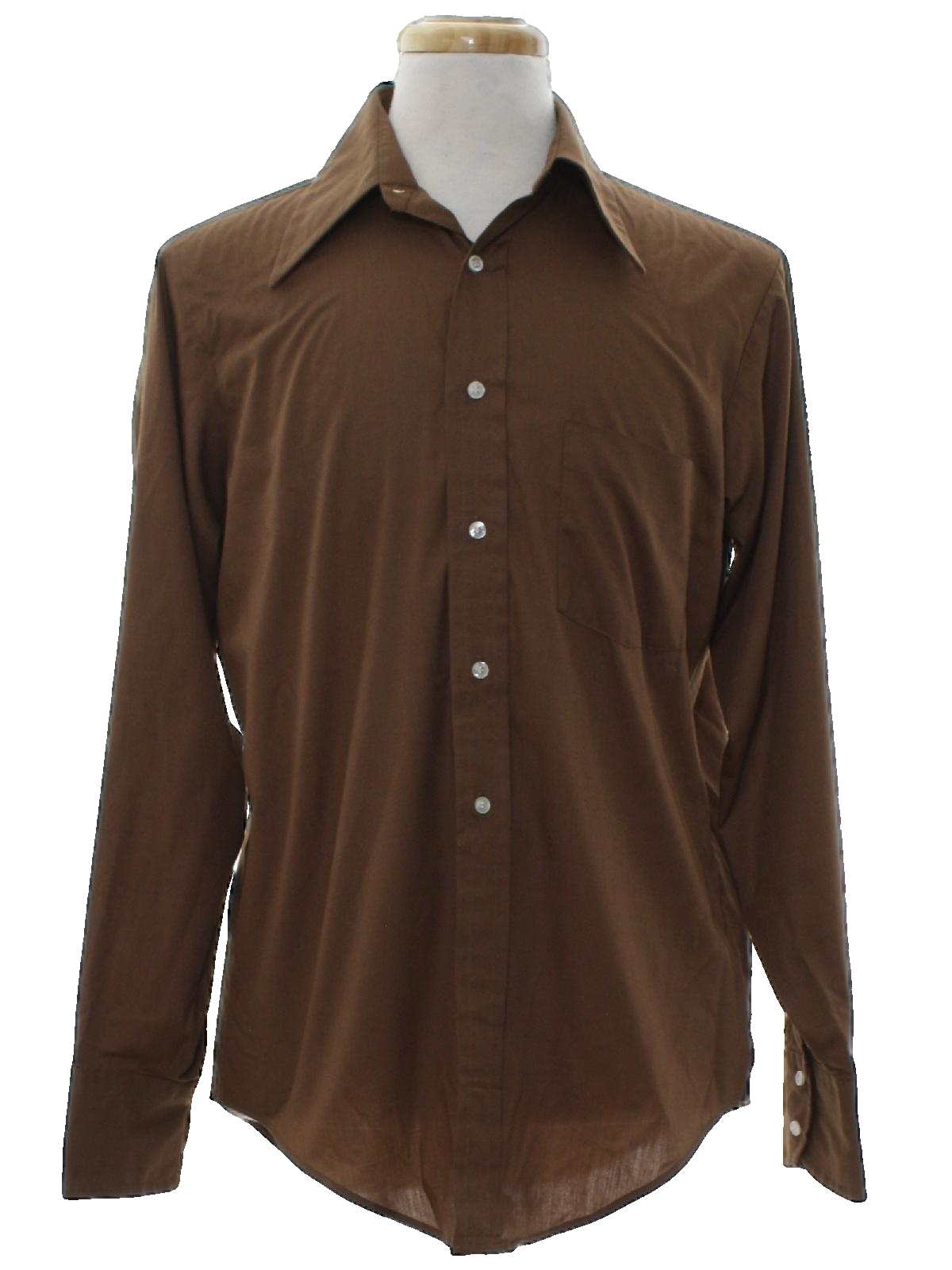70s retro shirt 70s arrow mensbrown polyester cotton for Solid color button up shirts