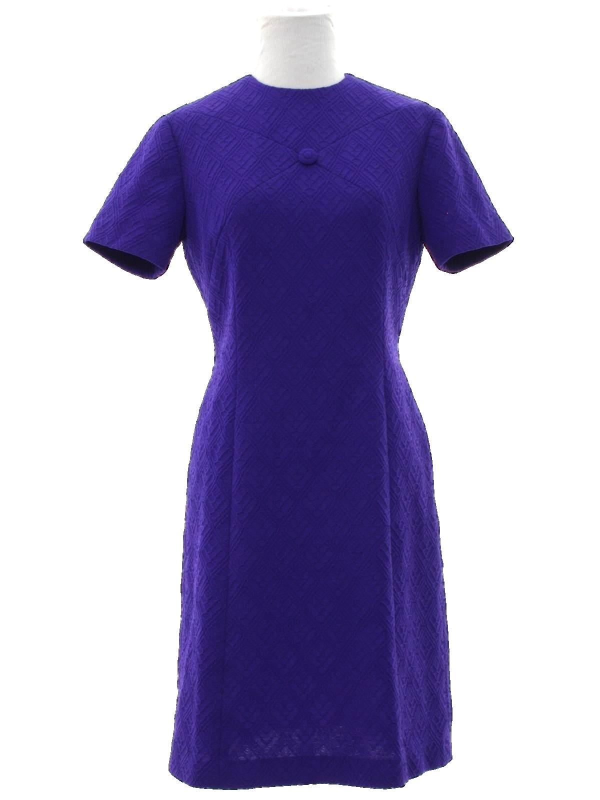1960\'s Dress (Home Sewn): 60s -Home Sewn- Womens purple raised ...