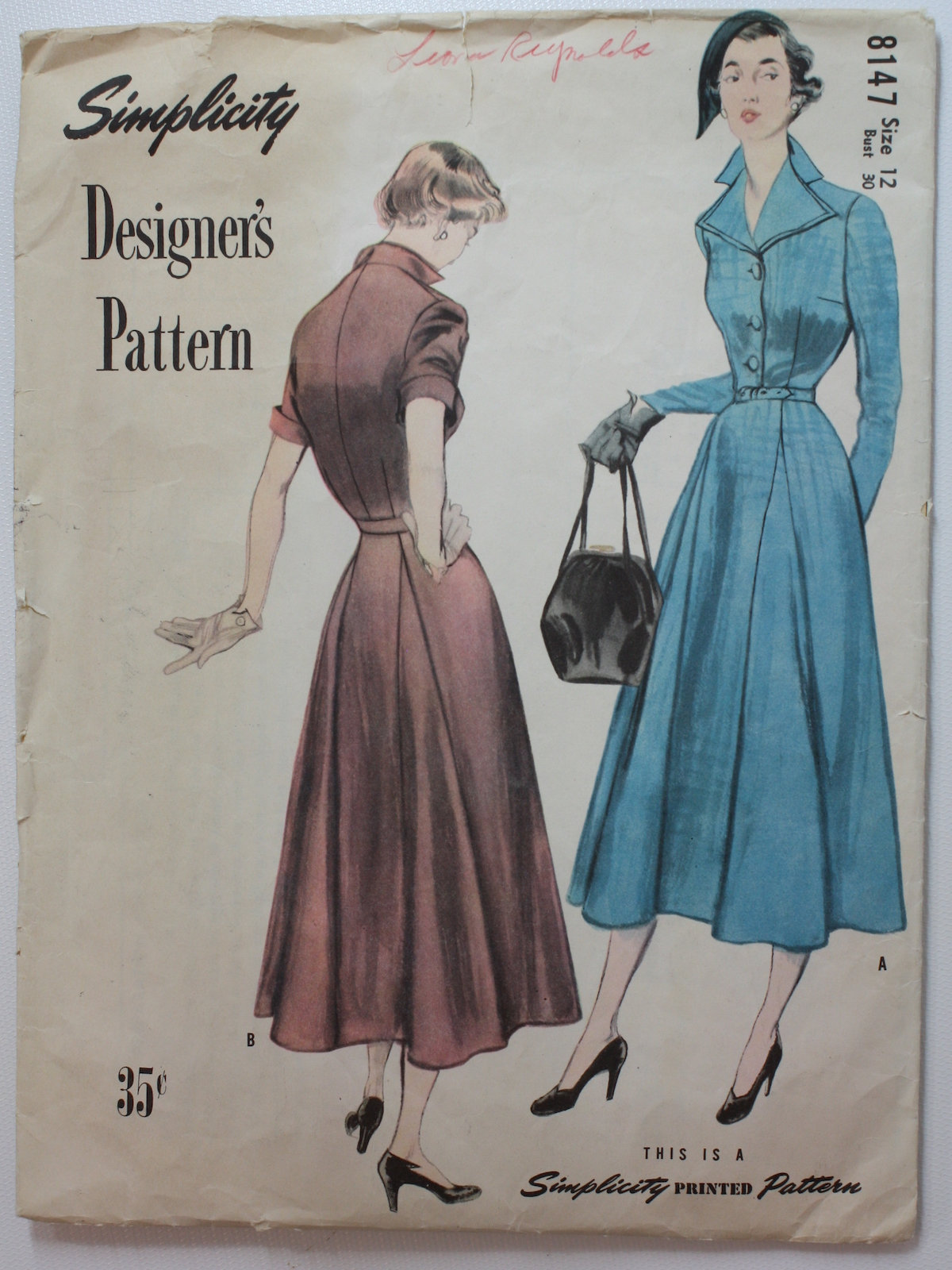 40s Sewing Pattern 40s Simplicity Designer Pattern No 8147 Womens Four Set In Godets Animate The Slightly Flared Skirt Of This Wearable Tailored Dress The Straight Sleeve Is Set Into A Blouse Which