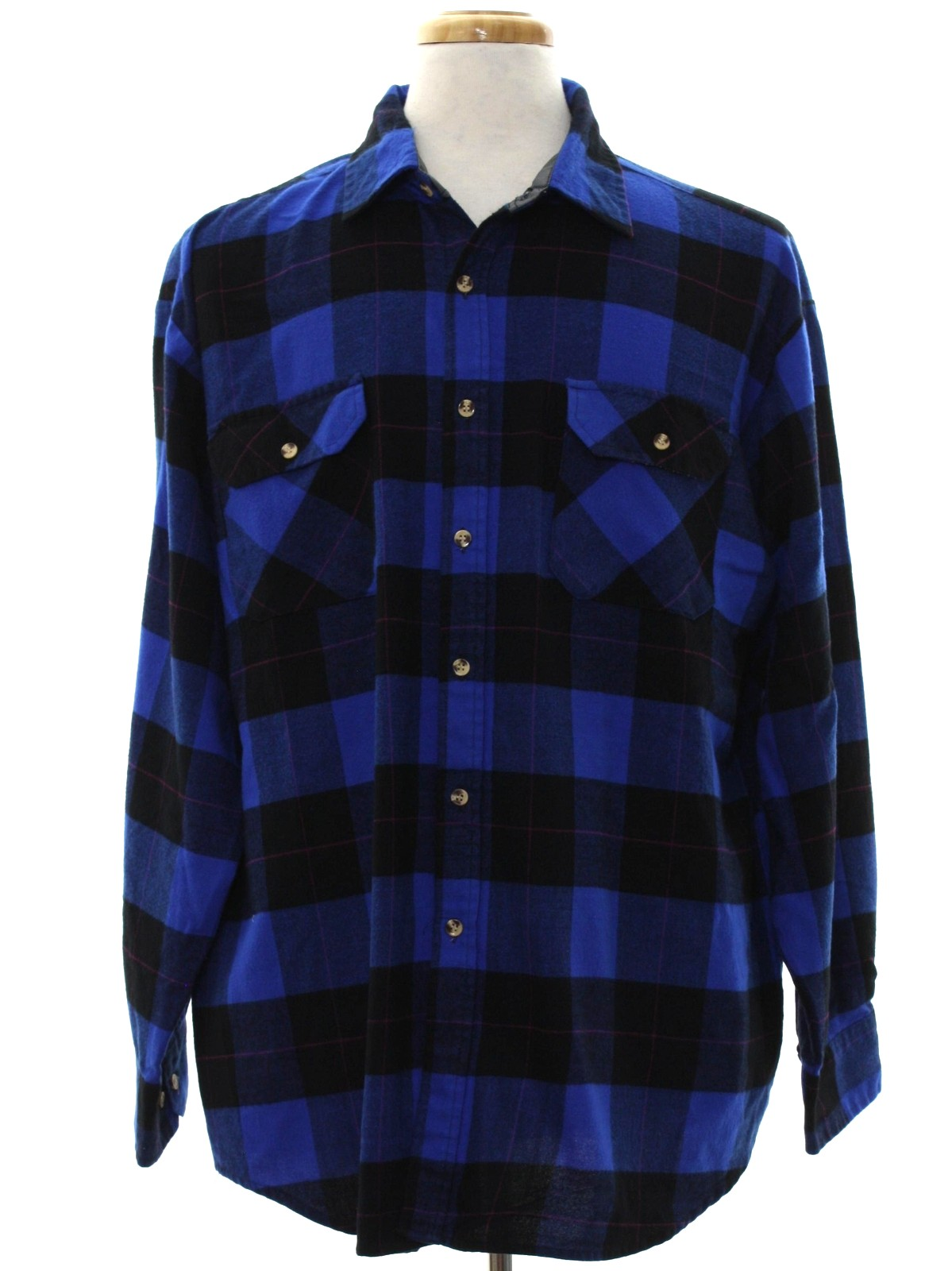 80 39 s saugatuck shirt late 80s or early 90s saugatuck for Royal blue plaid shirt mens