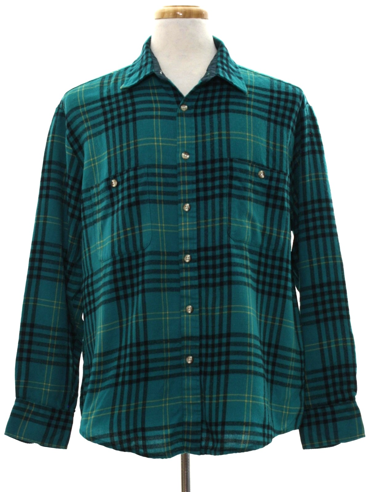 1990 39 S Retro Shirt 90s Windridge Mens Teal Green Black