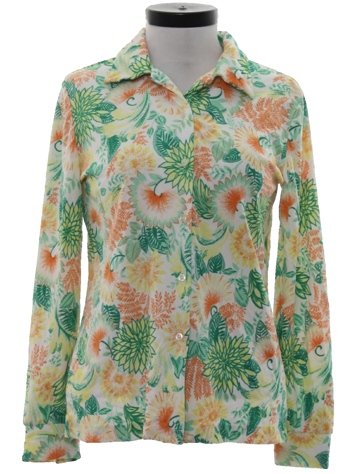 1970 39 s retro print disco shirt 70s care label only for Polyester button up shirt