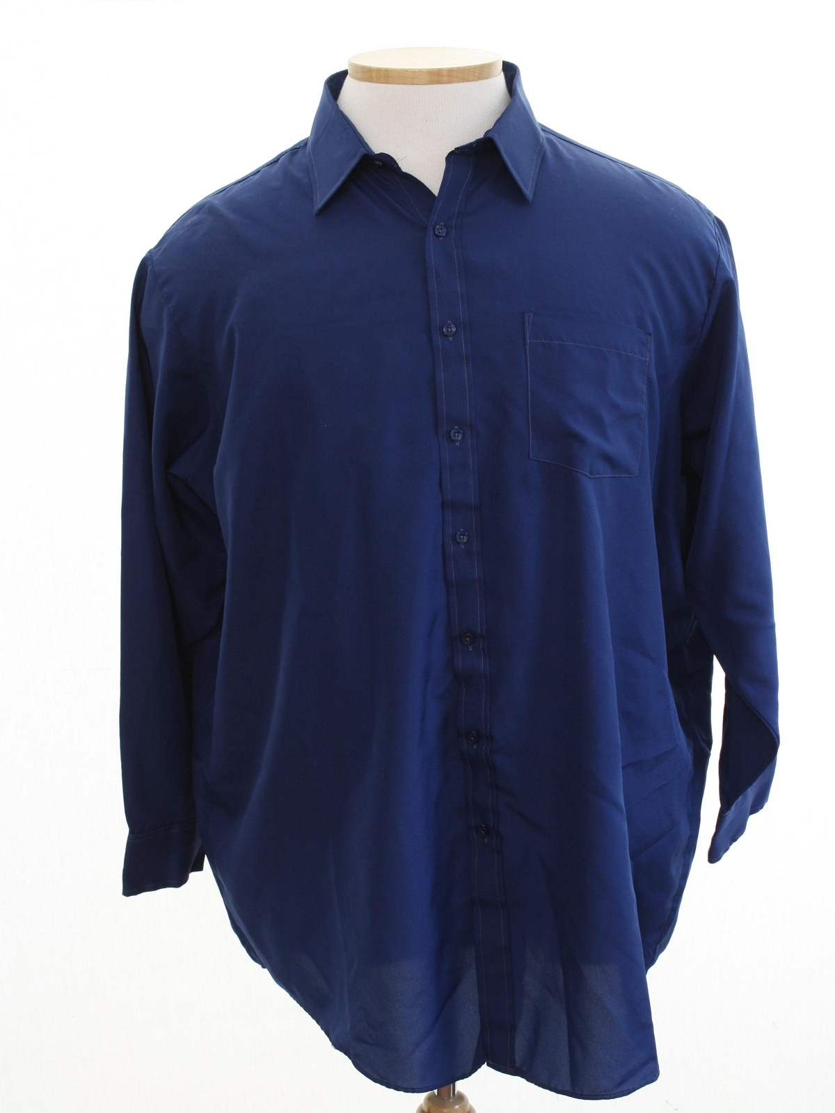 Vintage 80s shirt 80s towncraft mens navy blue for Solid color button up shirts