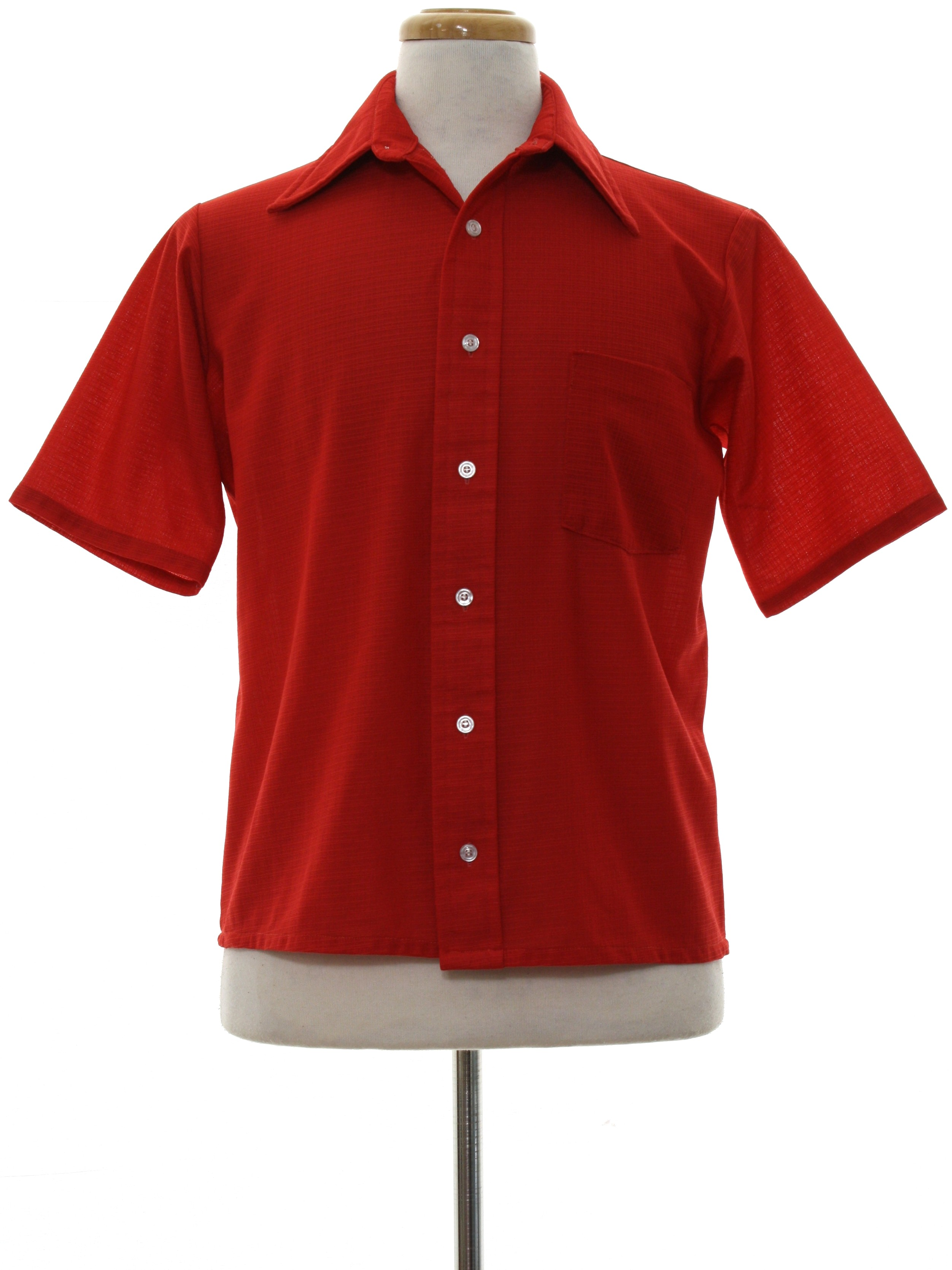 Vintage 1970 39 s shirt 70s van heusen mens carmine red for Polyester button up shirt