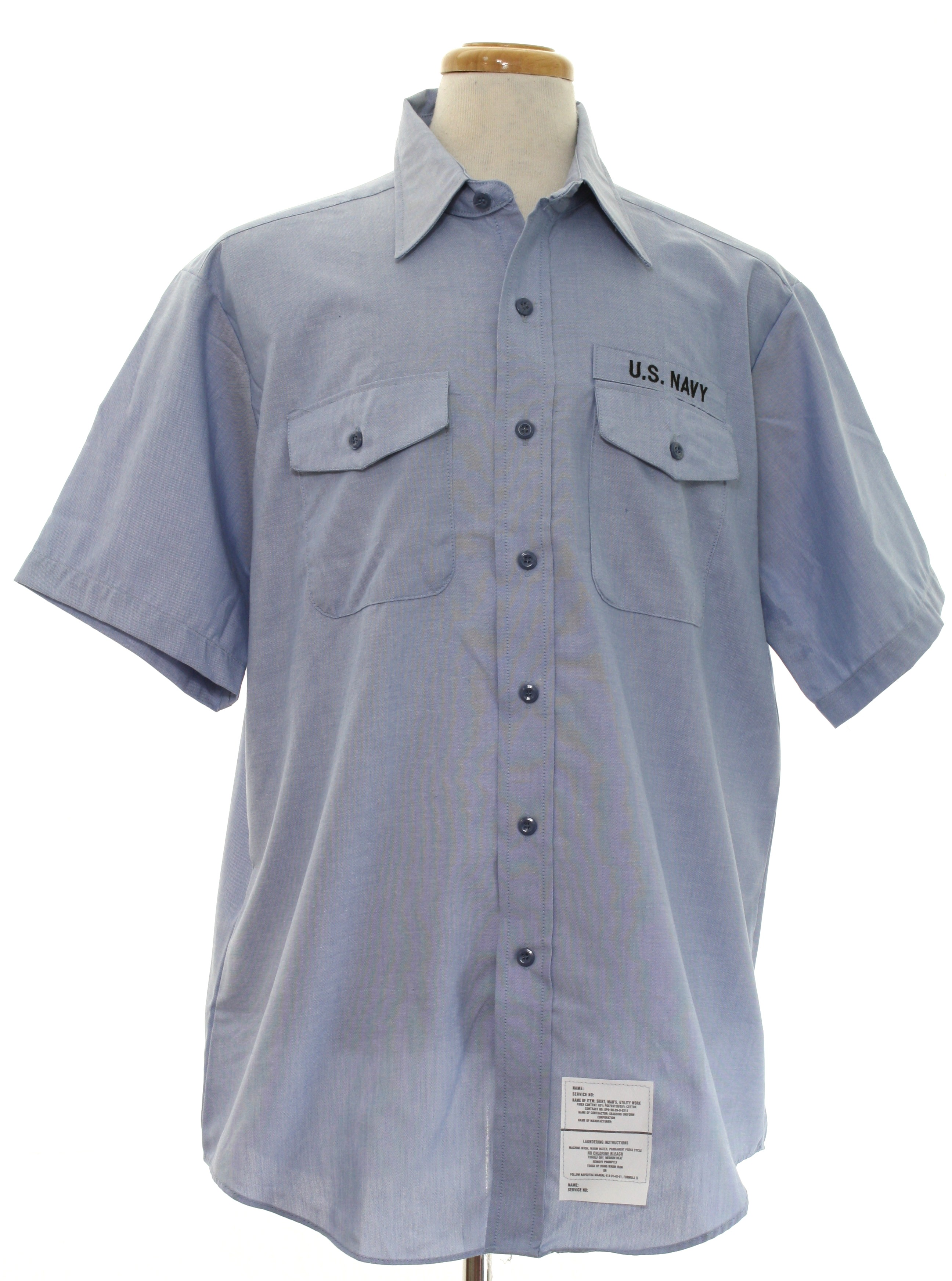Retro 1980 39 s shirt seagoing uniform corp 80s seagoing for Blue cotton work shirts