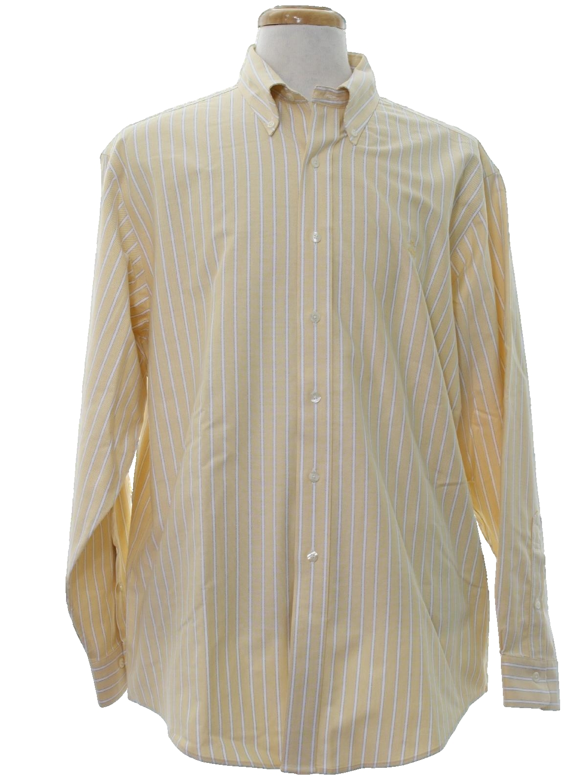 80s retro shirt 80s brooks brothers mens pale yellow for Brooks brothers tall shirts