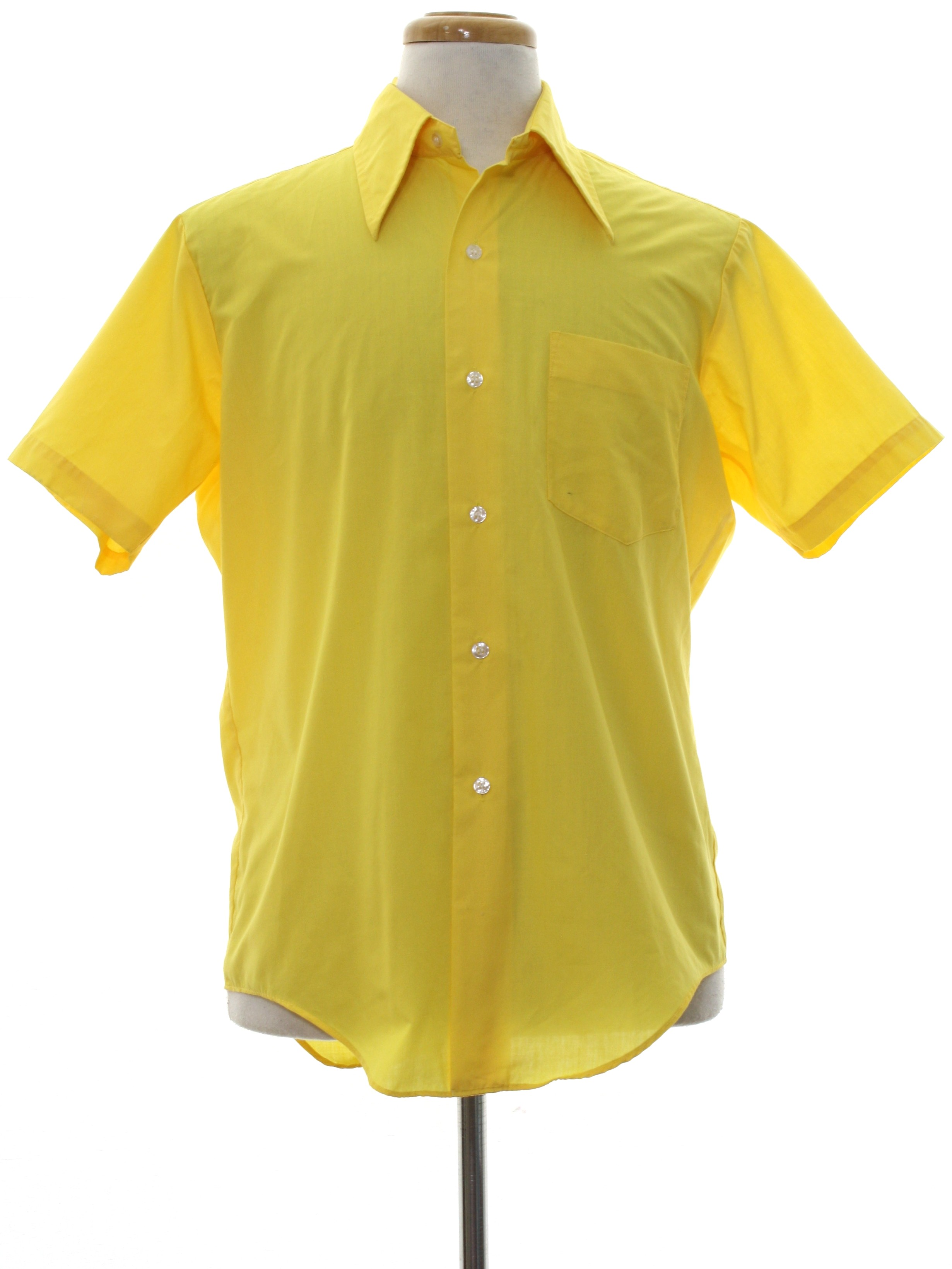 1970 39 s shirt presscot 70s presscot mens bright yellow for Polyester button up shirt