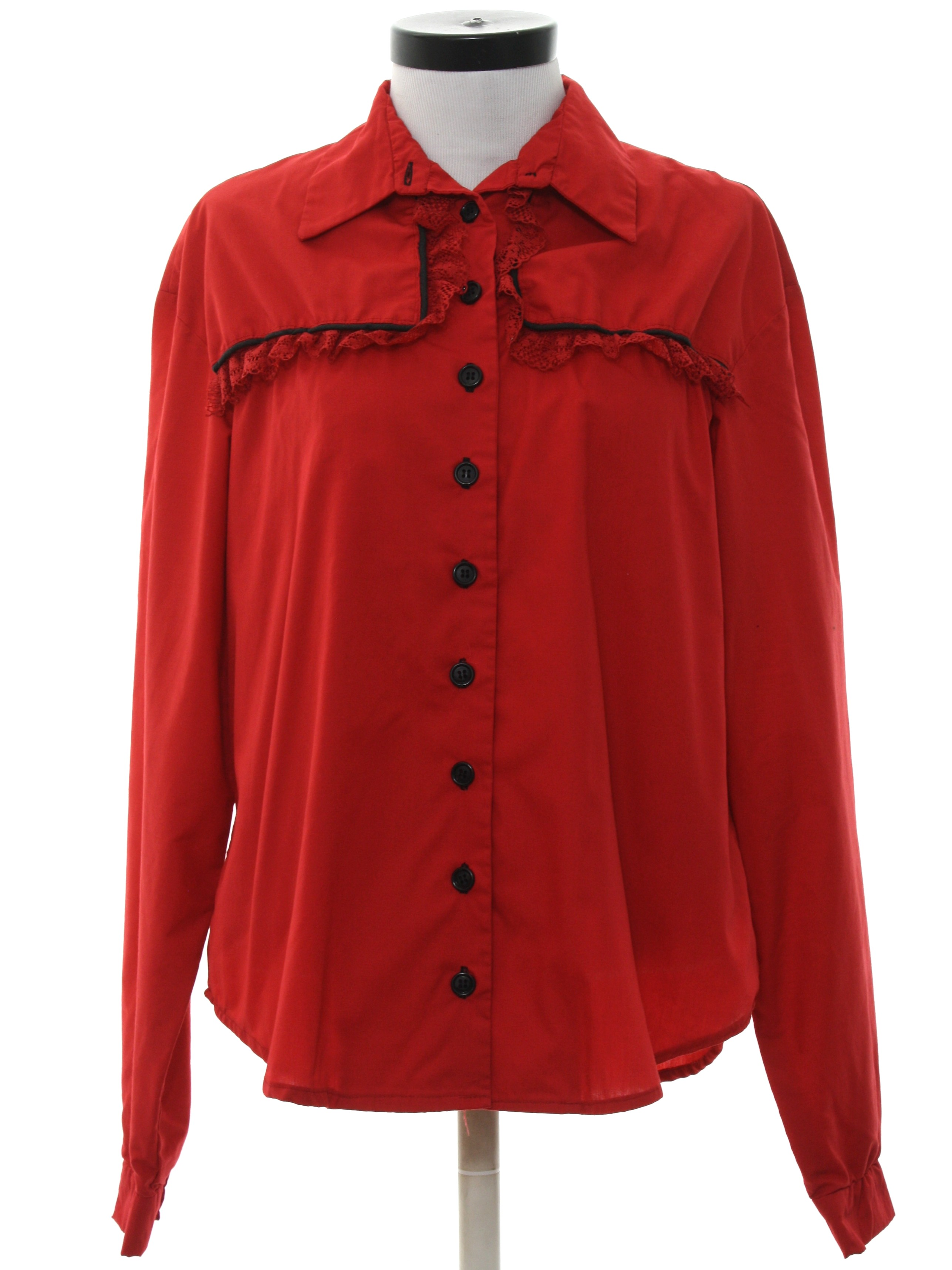 80s vintage western shirt 80s no label womens red for Solid color button up shirts