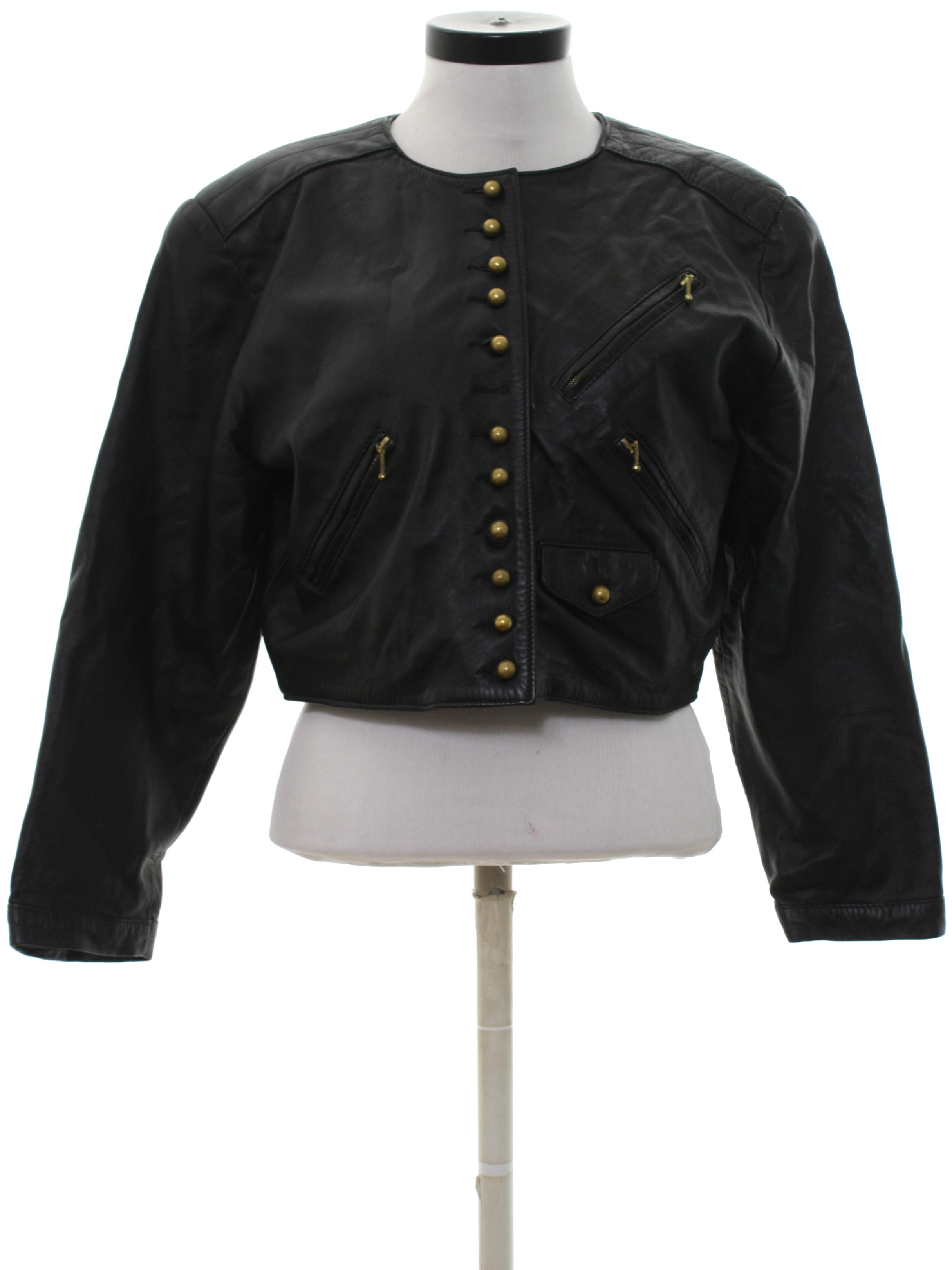 Retro 80 S Leather Jacket 80s Casamance Express Womens Black