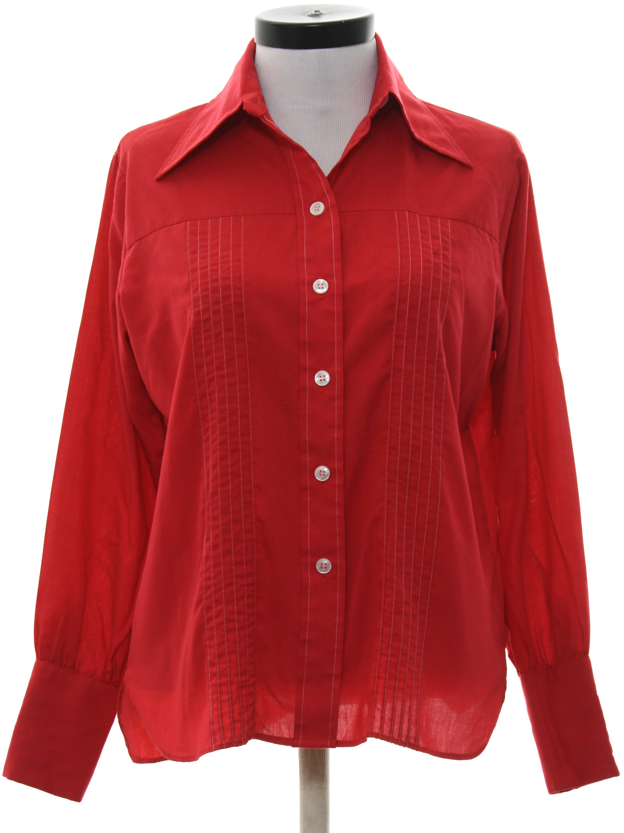 70 39 s vintage shirt 70s lady wrangler womens red for Solid color button up shirts