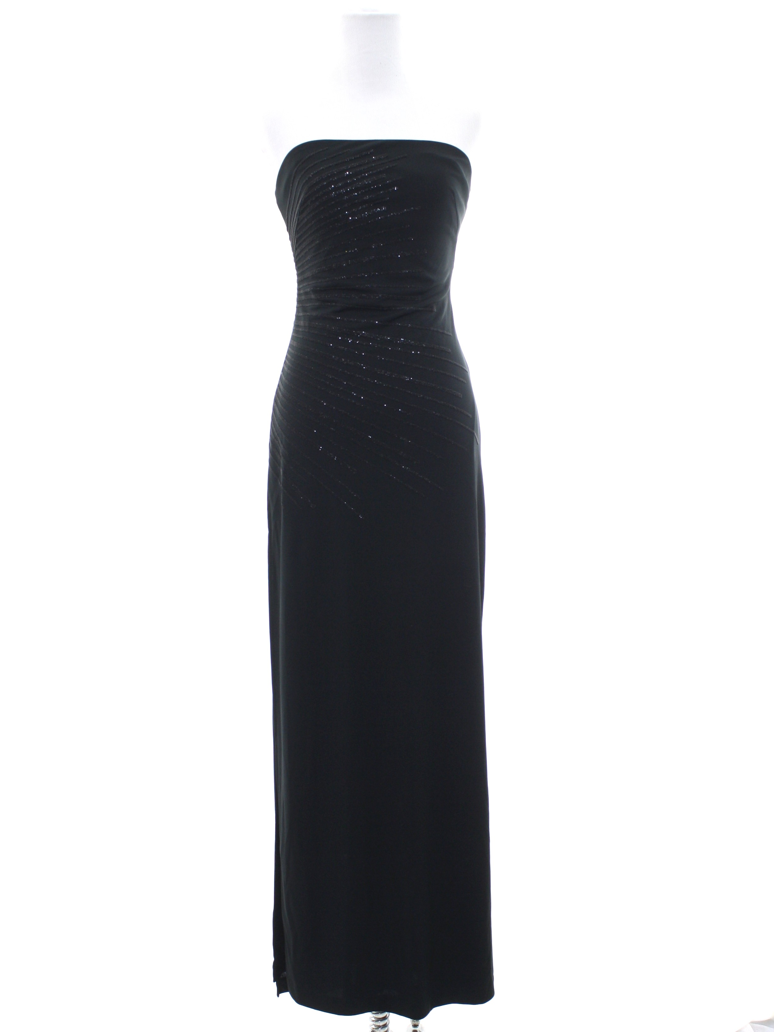 Retro 90s Tail Dress Express Womens Black Background Polyester Sleeveless Maxi Wicked Prom Or Squared Neckline