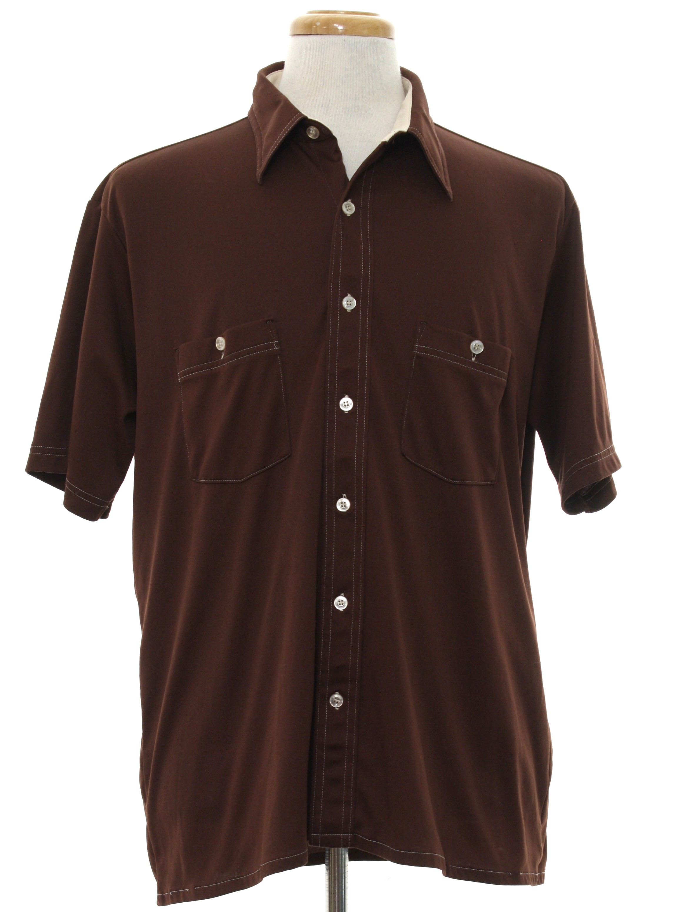 Arrow 70 39 s vintage shirt 70s arrow mens chocolate brown for Mens chocolate brown shirt