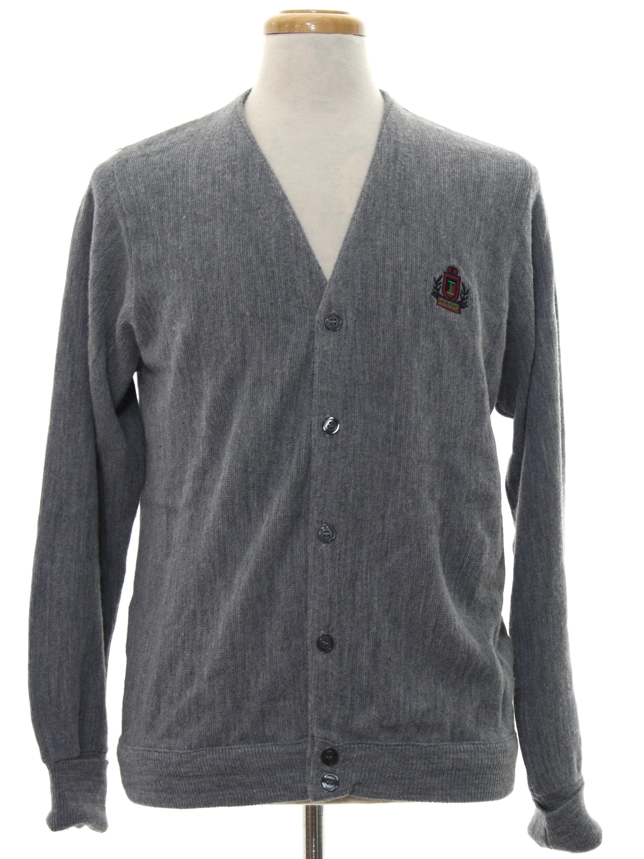 Vintage Izod 80's Caridgan Sweater: 80s -Izod- Mens heather grey ...