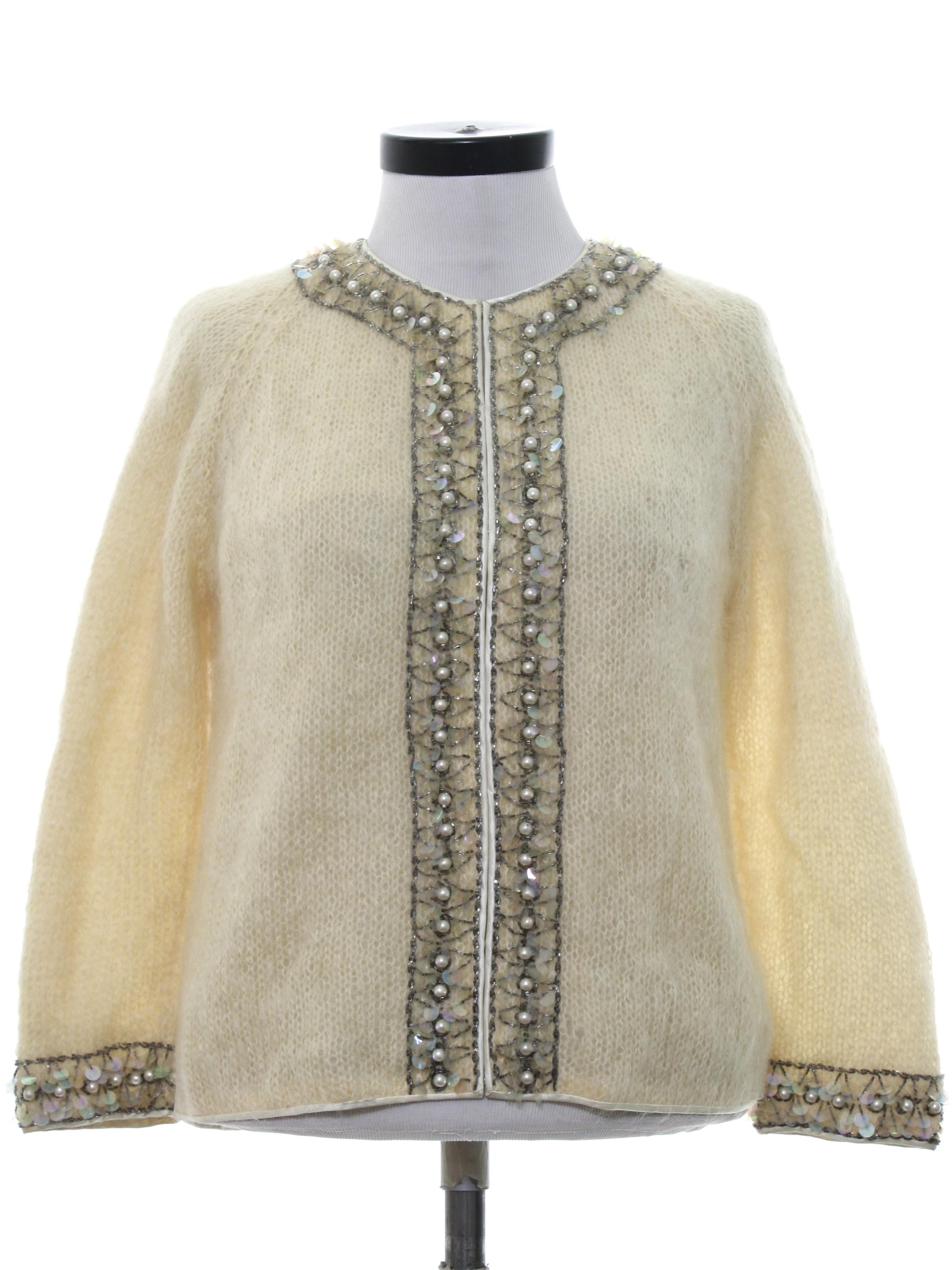 abde6efcc3 Retro 1960s Beaded Sweater  60s -Cyn Les- Womens winter white ...