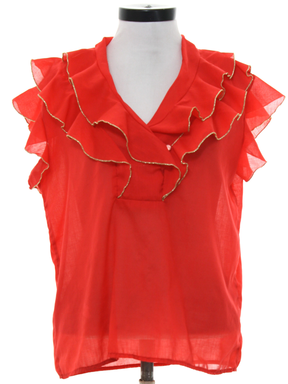 Red Dressy Blouse Anlis