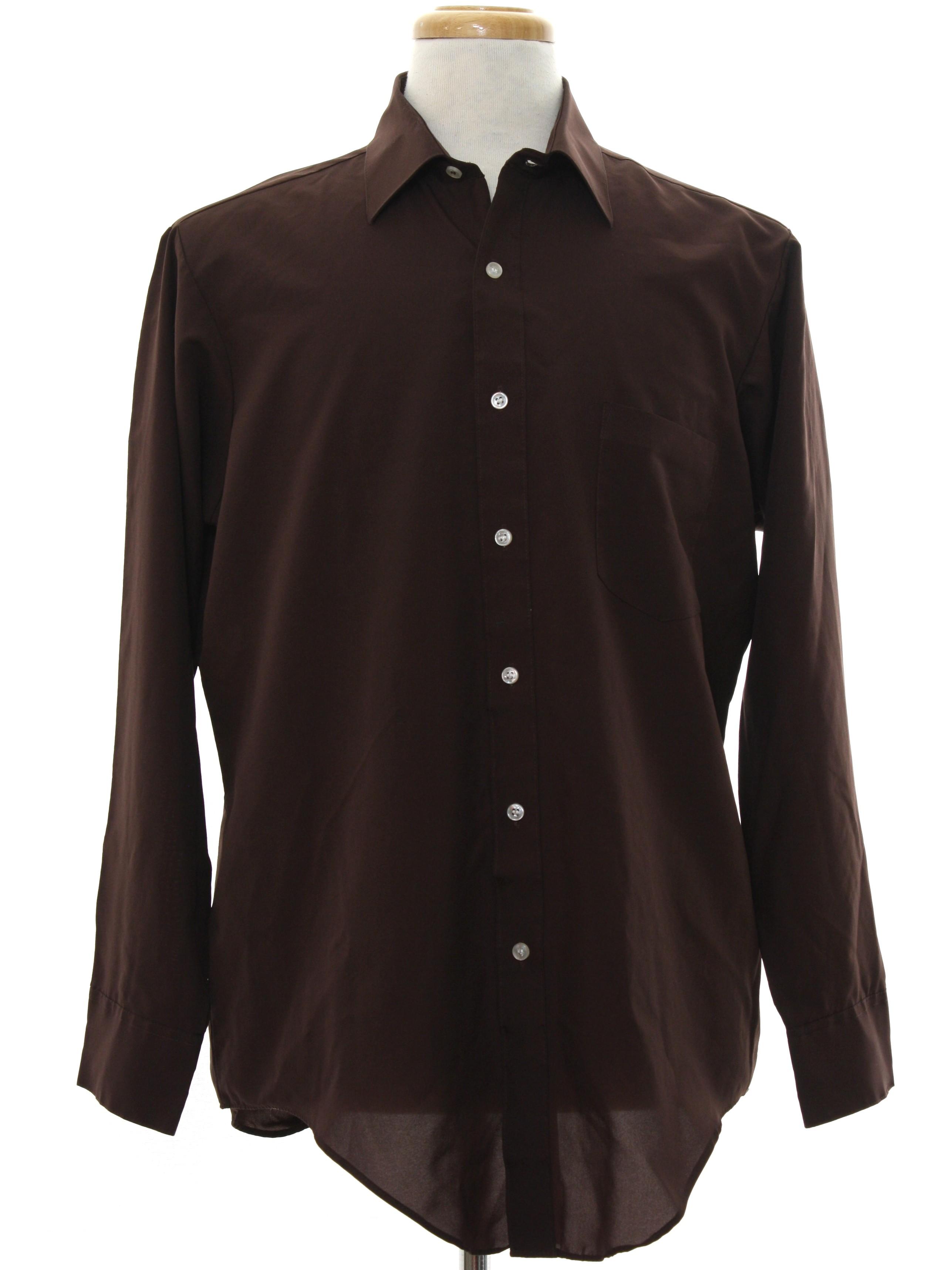 70s disco shirt van heusen 70s van heusen mens dark for Solid color button up shirts