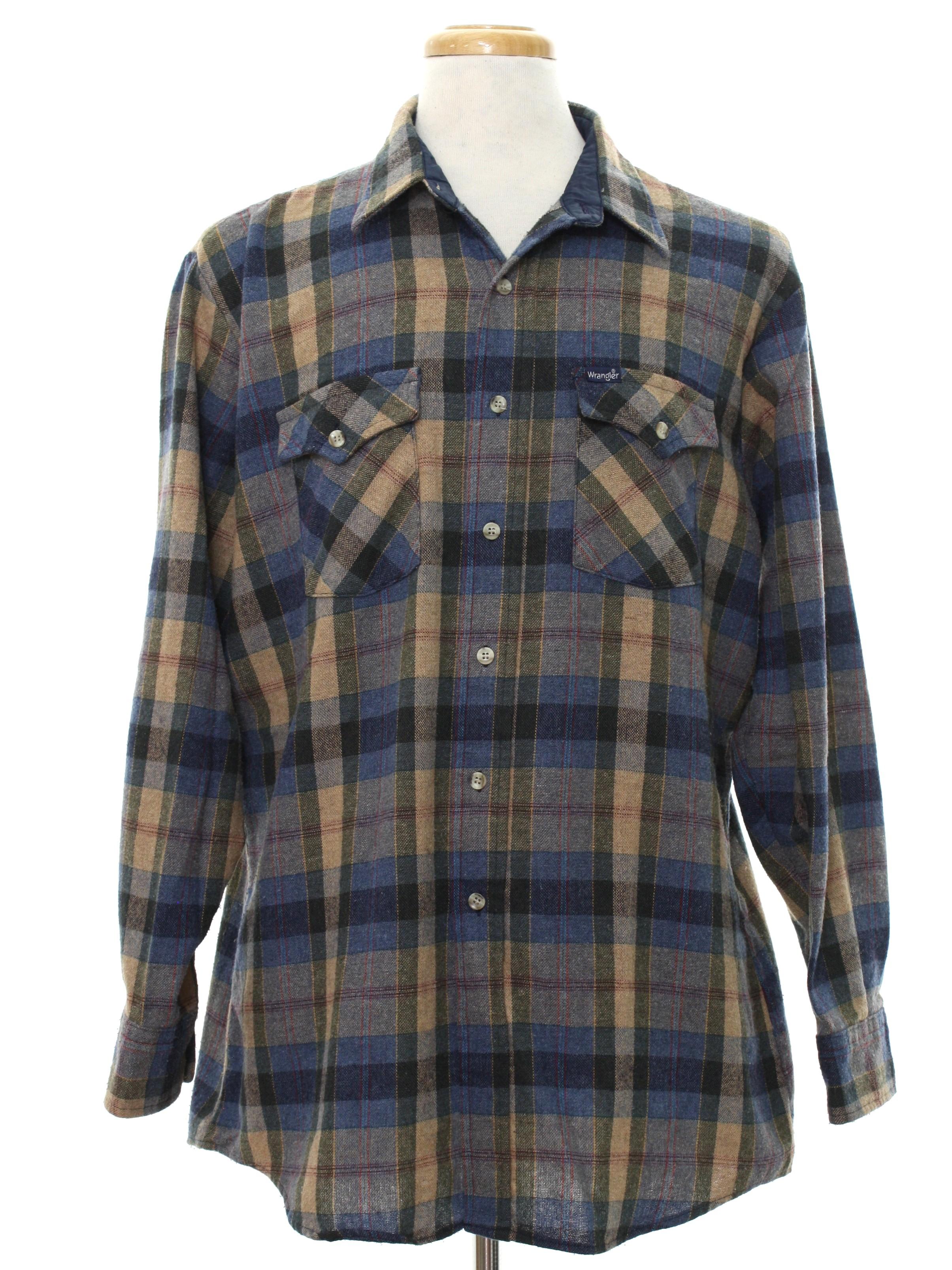 80s retro western shirt 80s wrangler mens tan for Mens wool flannel shirt