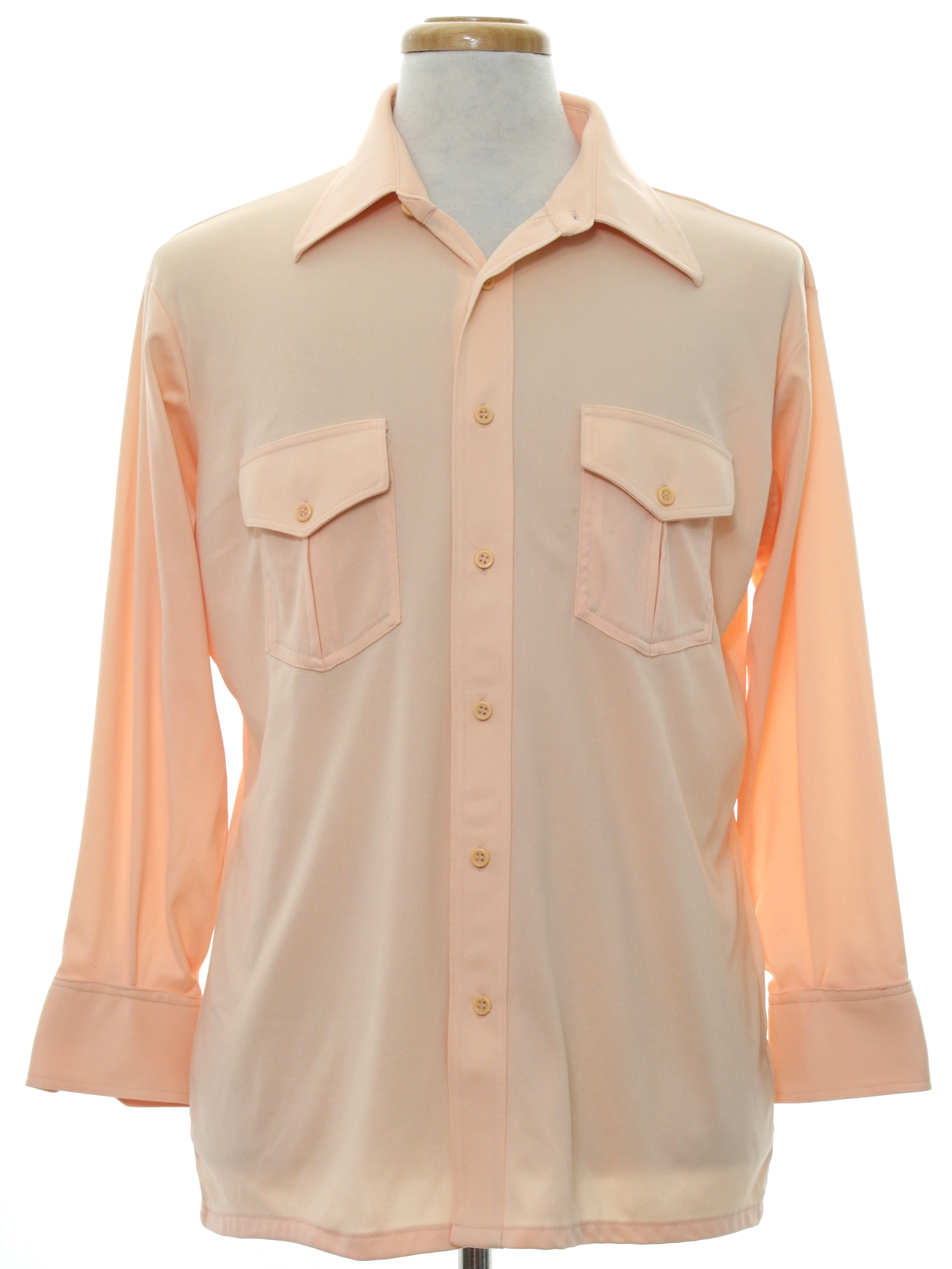 1970 39 s retro shirt 70s hargrave mens light peach for Solid color button up shirts