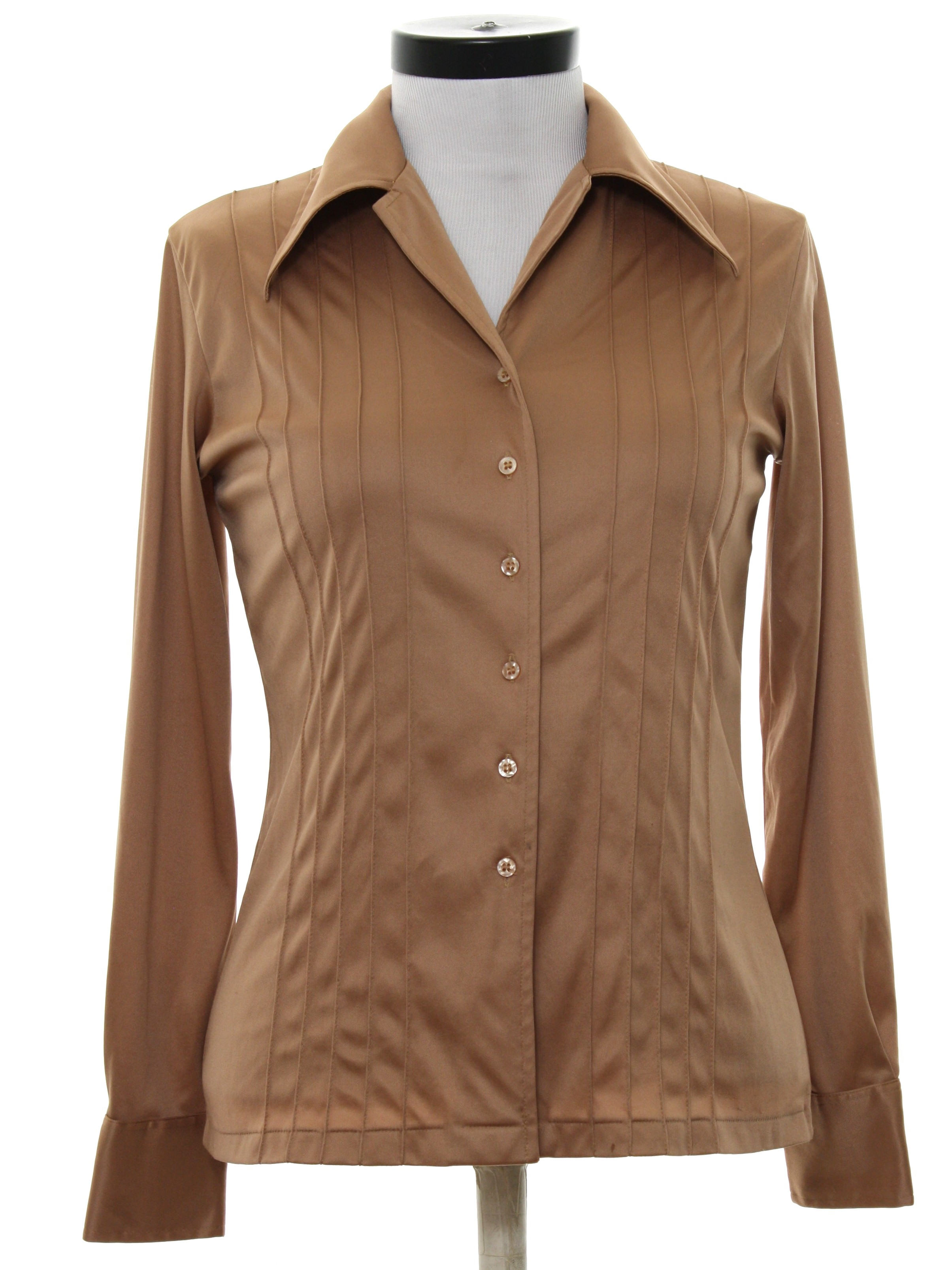 Seventies disco shirt 70s no label womens toast brown for Solid color button up shirts