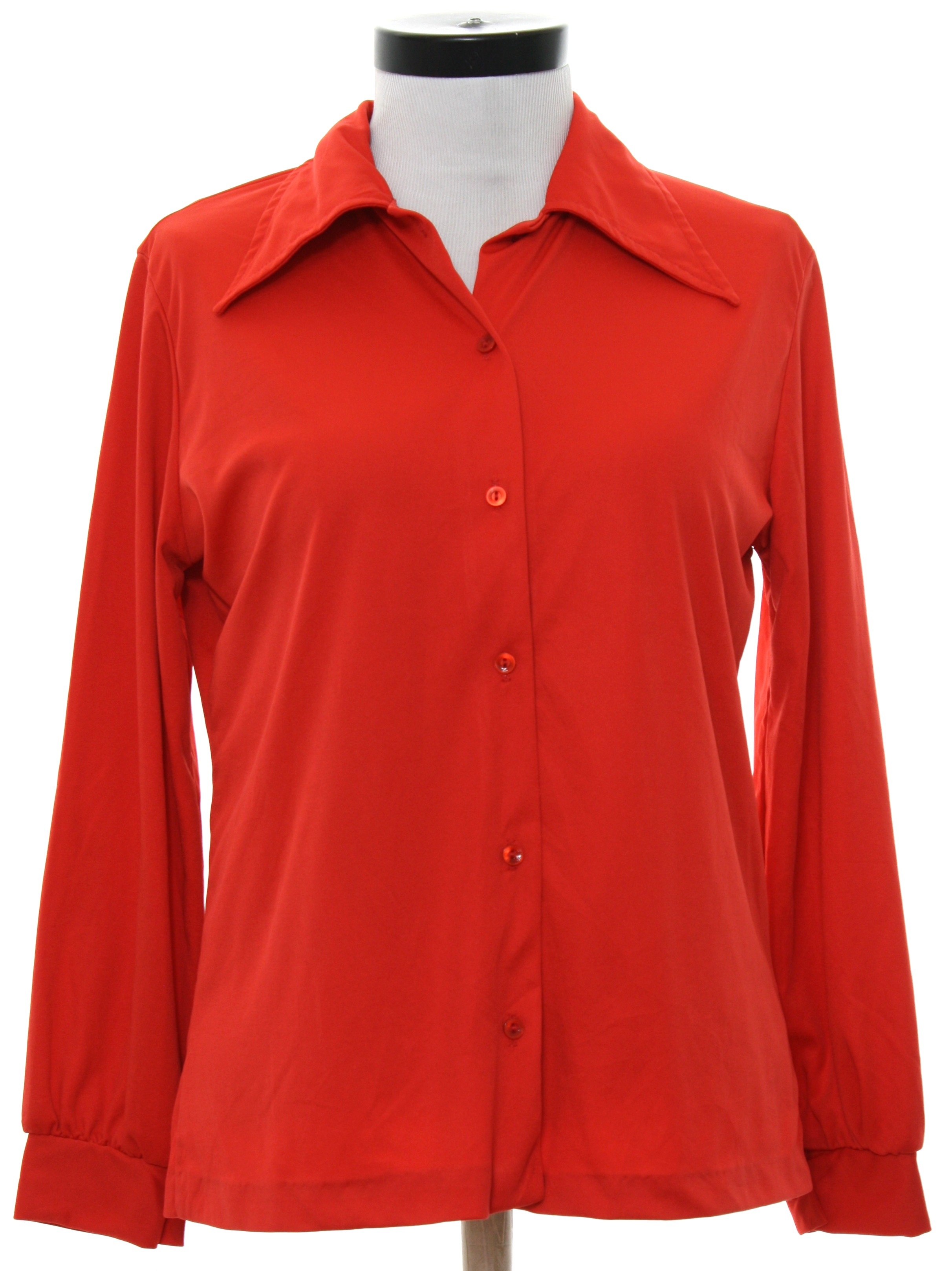 No label 70 39 s vintage disco shirt 70s no label womens for Solid color button up shirts
