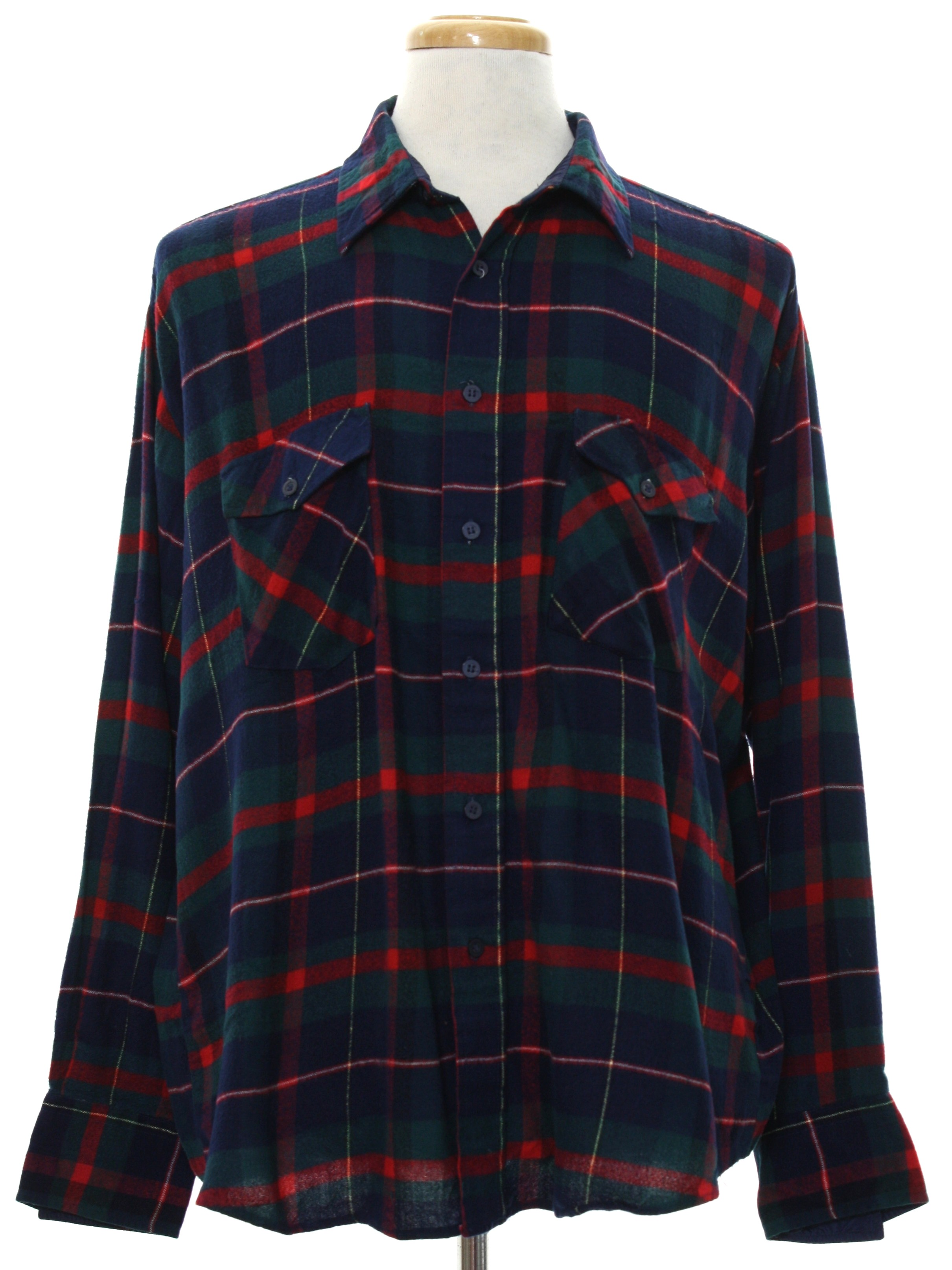1980s vintage shirt 80s windbreaker mens navy blue for Navy blue and red flannel shirt