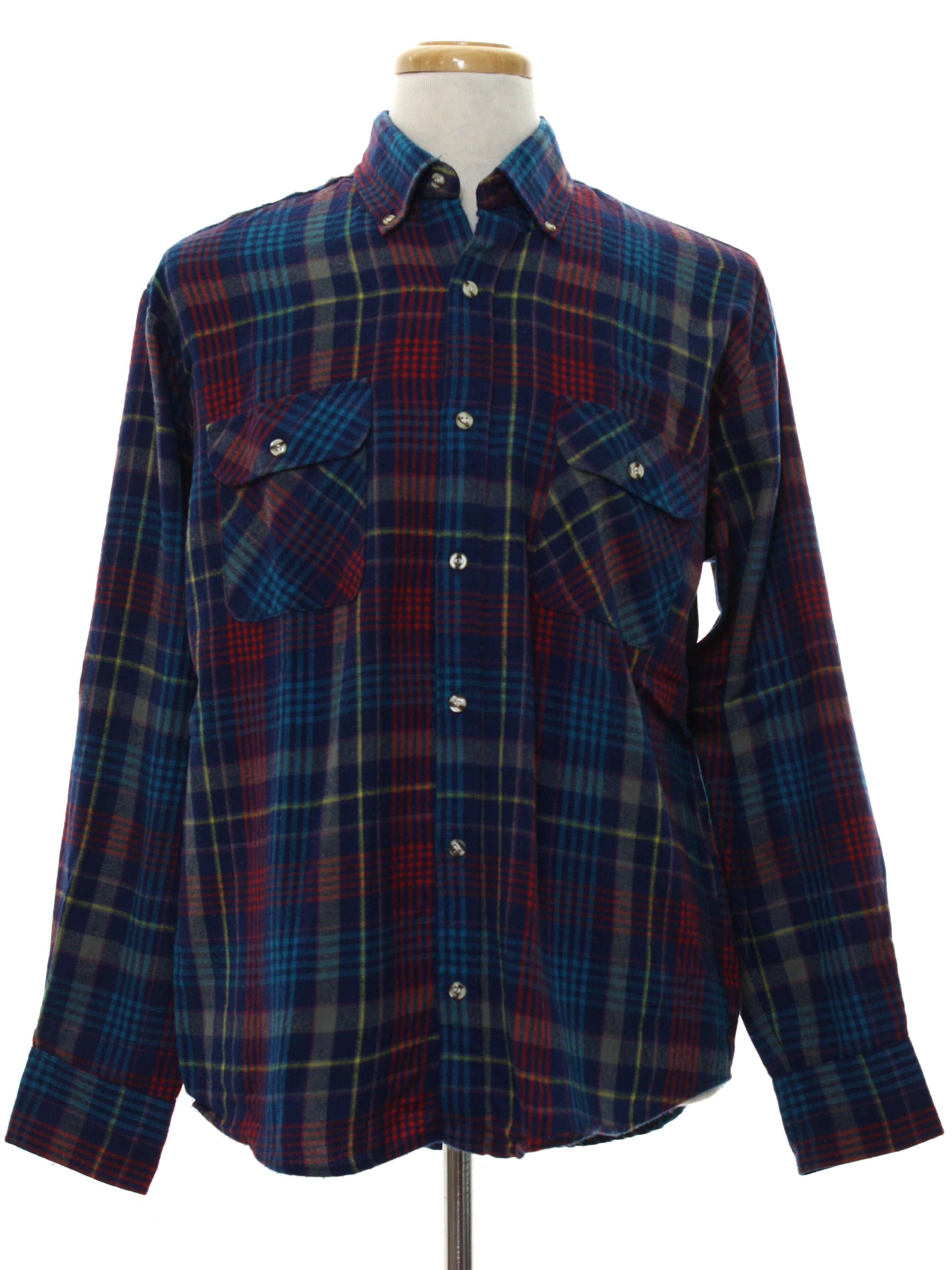 1980 39 s shirt astor one 80s astor one mens navy blue for Navy blue and red flannel shirt