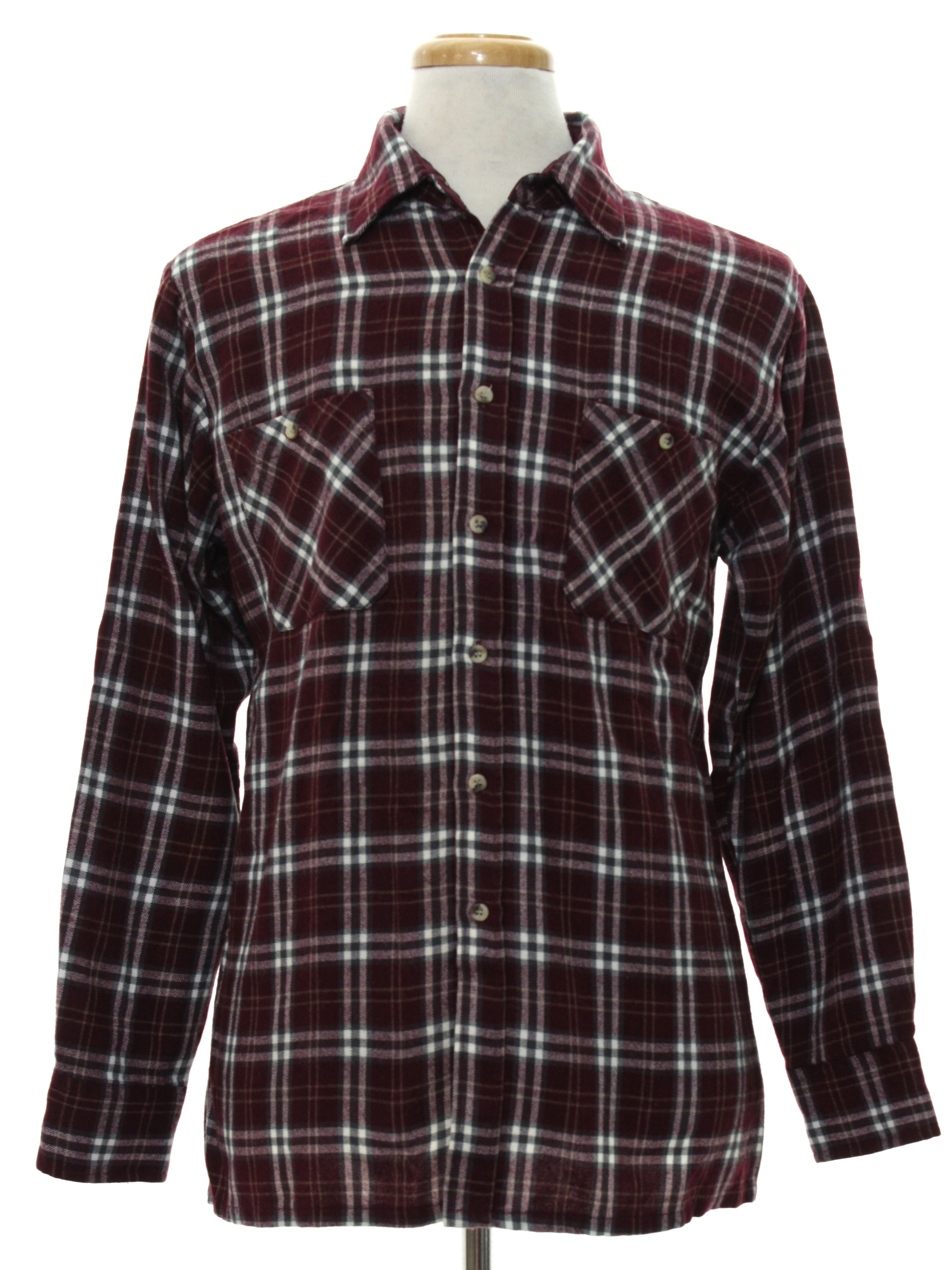 Vintage 1990 39 s shirt 90s scandia woods mens burgundy for Types of flannel shirts