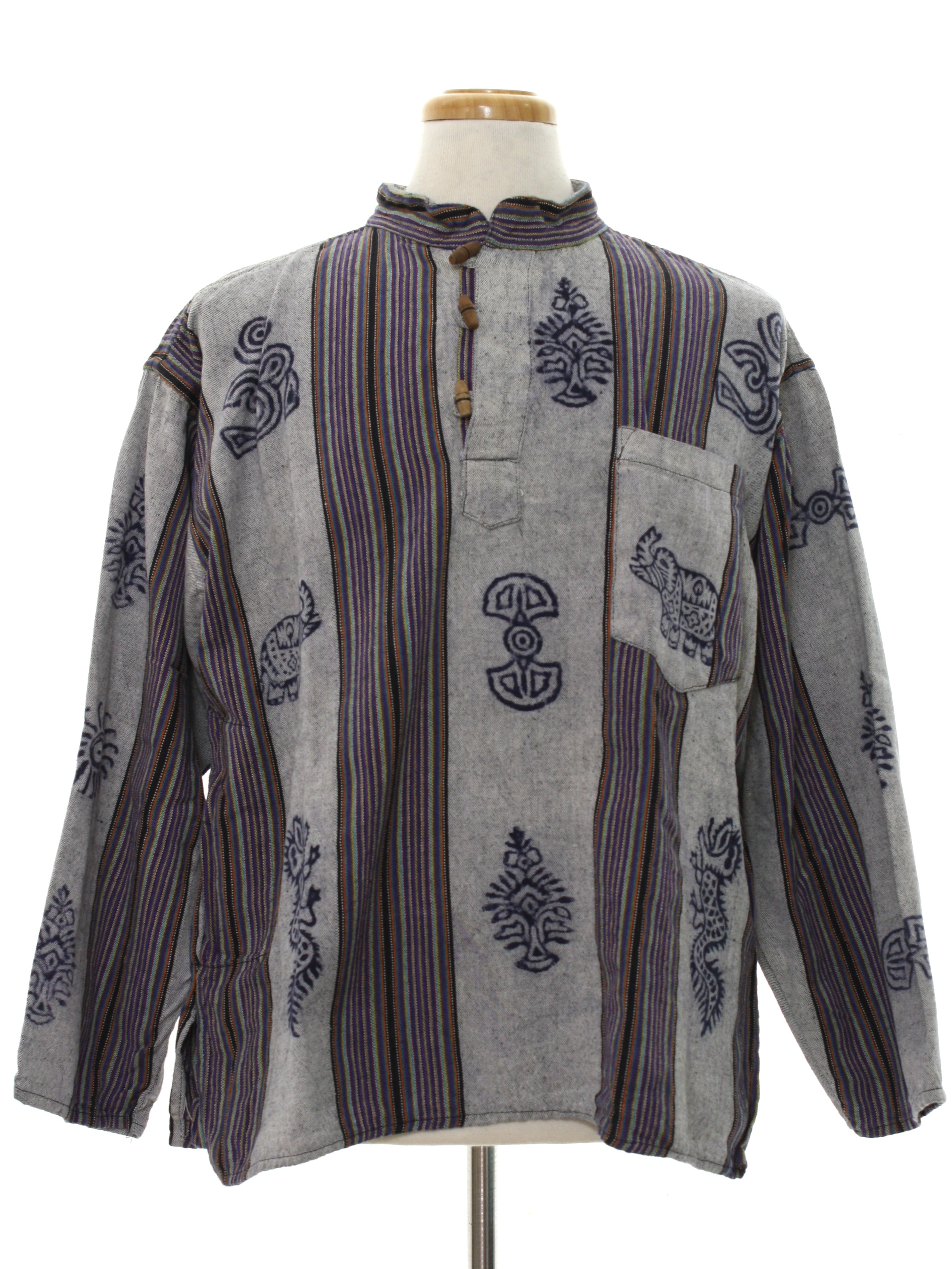 Retro 80s Hippie Shirt (Missing Label) : 80s -Missing Label- Mens ...